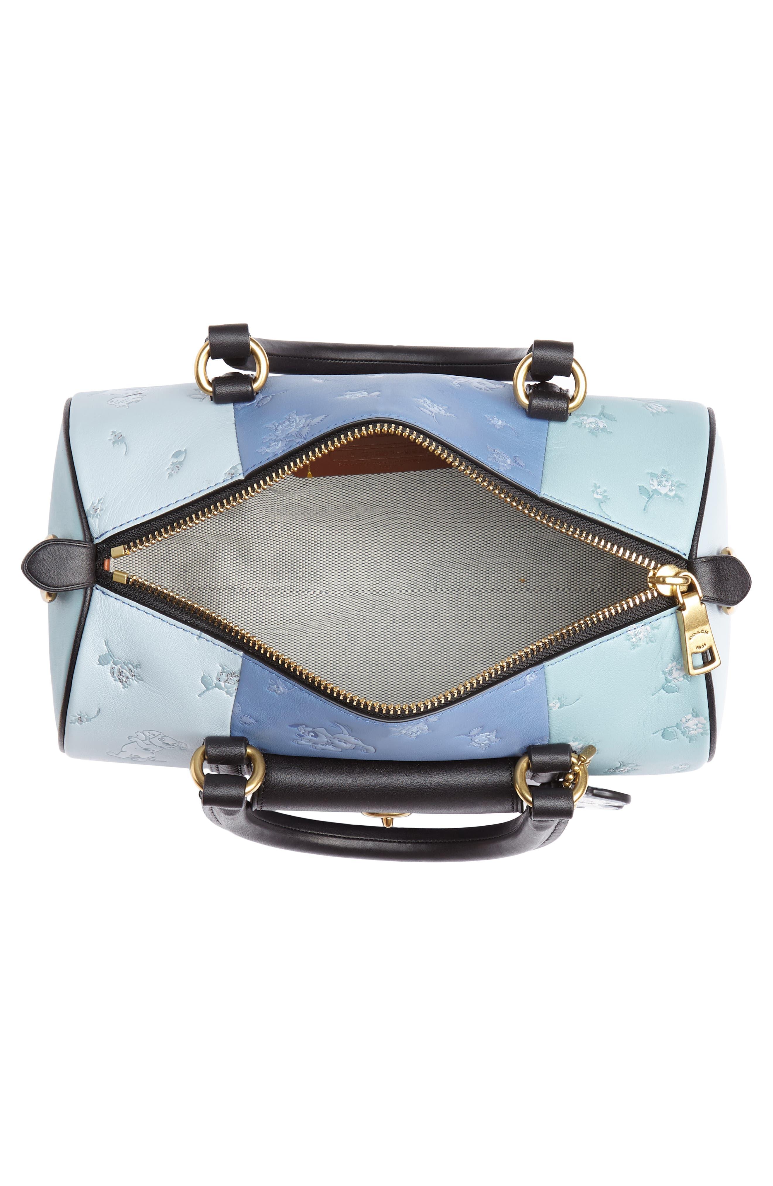Disney x COACH 101 Dalmatians Leather Barrel Bag,                             Alternate thumbnail 4, color,                             402