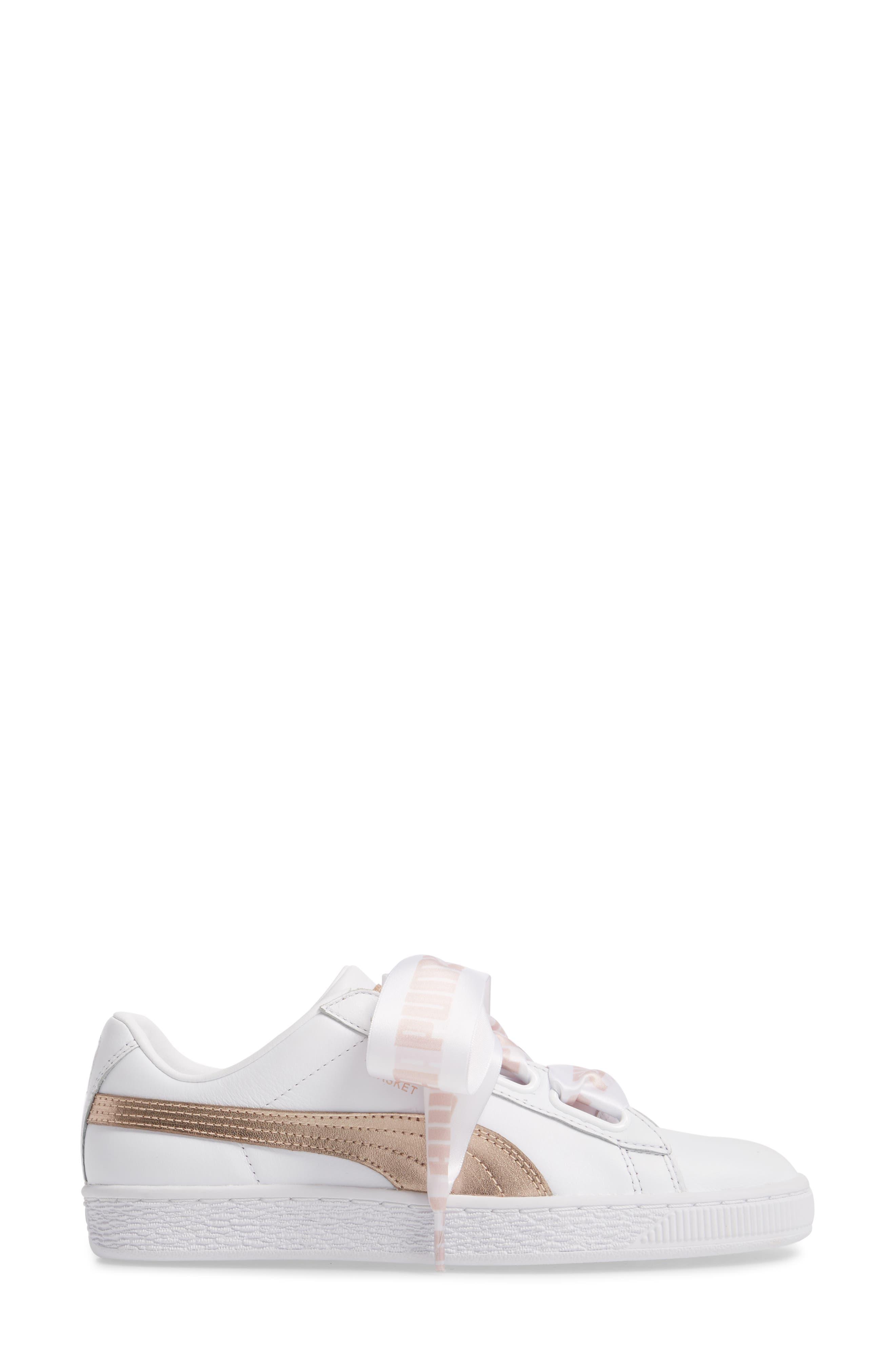 Basket Heart Sneaker,                             Alternate thumbnail 3, color,                             WHITE/ ROSE GOLD LEATHER