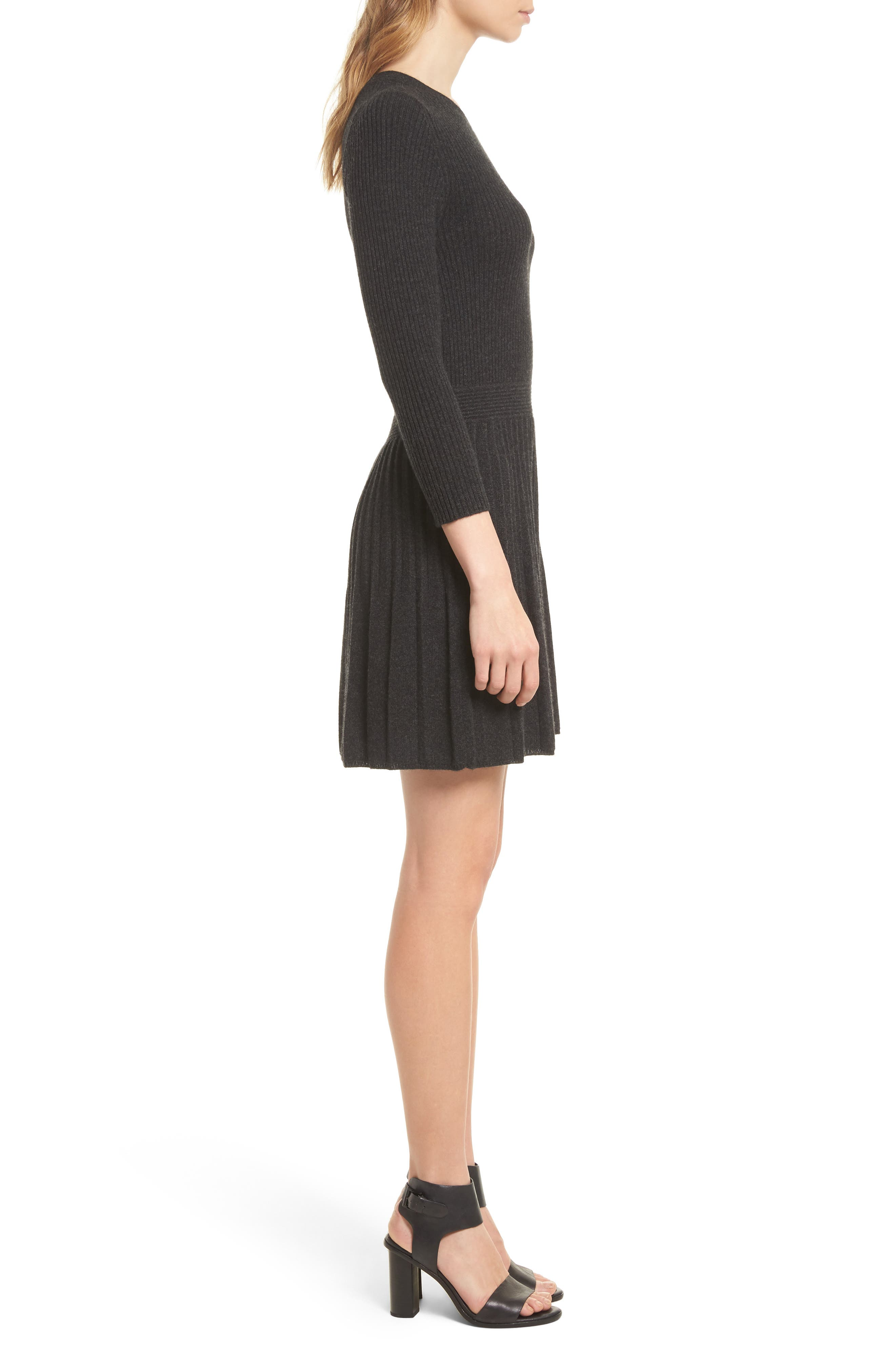 Peronne B Knit Wool & Cashmere Fit & Flare Dress,                             Alternate thumbnail 3, color,                             071
