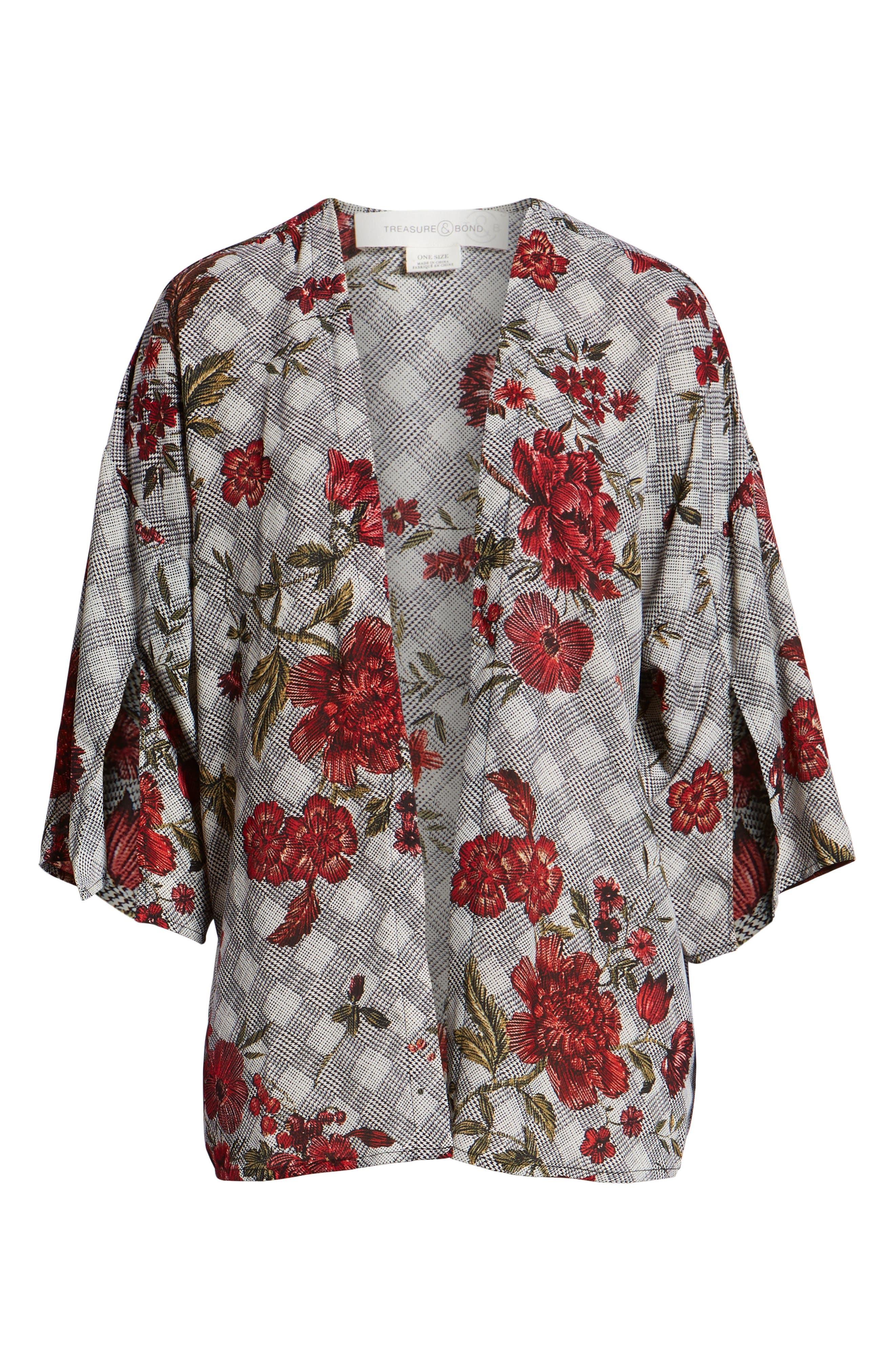 Floral & Glen Check Kimono,                             Alternate thumbnail 6, color,                             BLACK COMBO