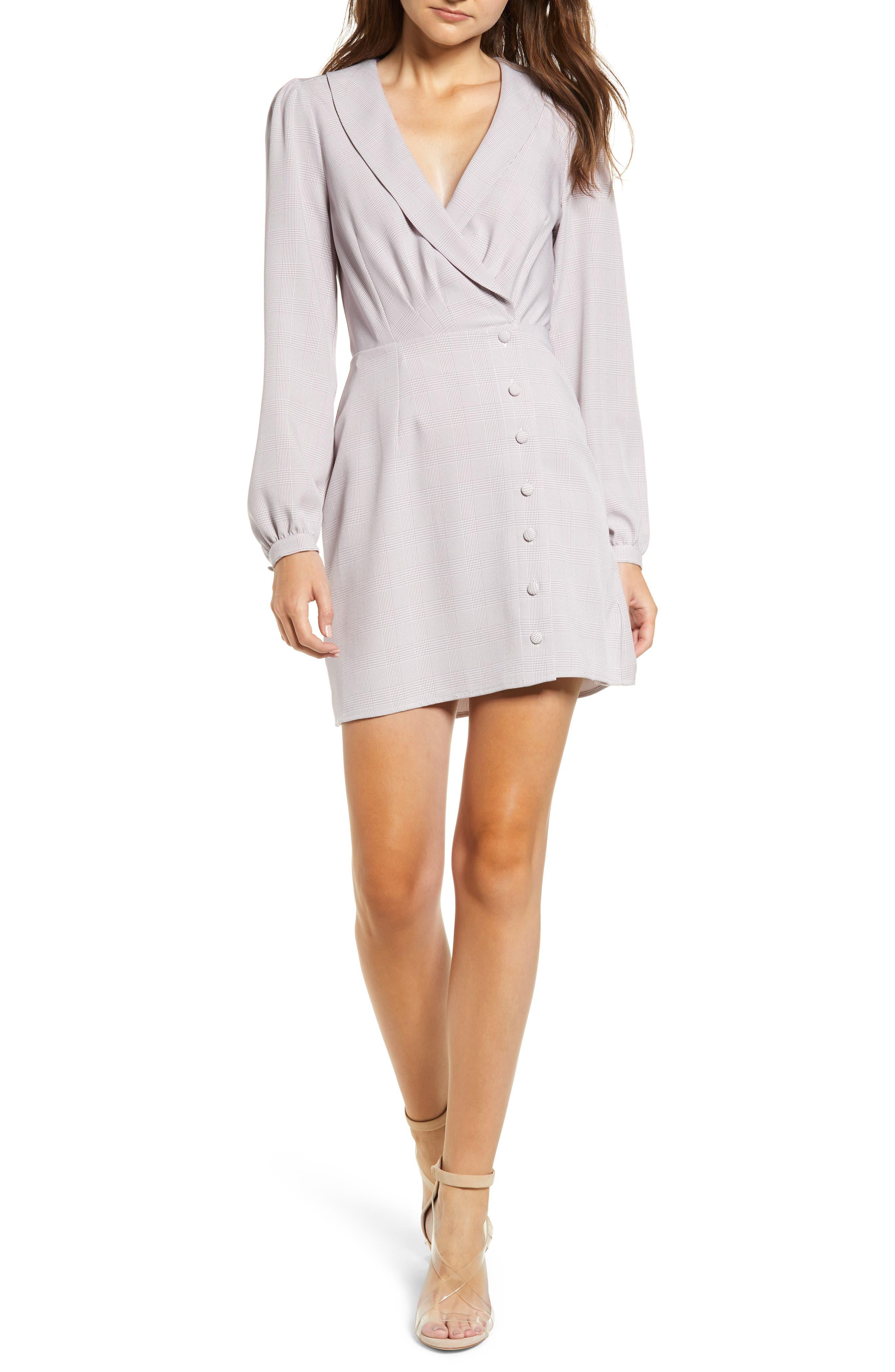 Rozy Glen Plaid Minidress,                         Main,                         color, LAVENDER TWEED