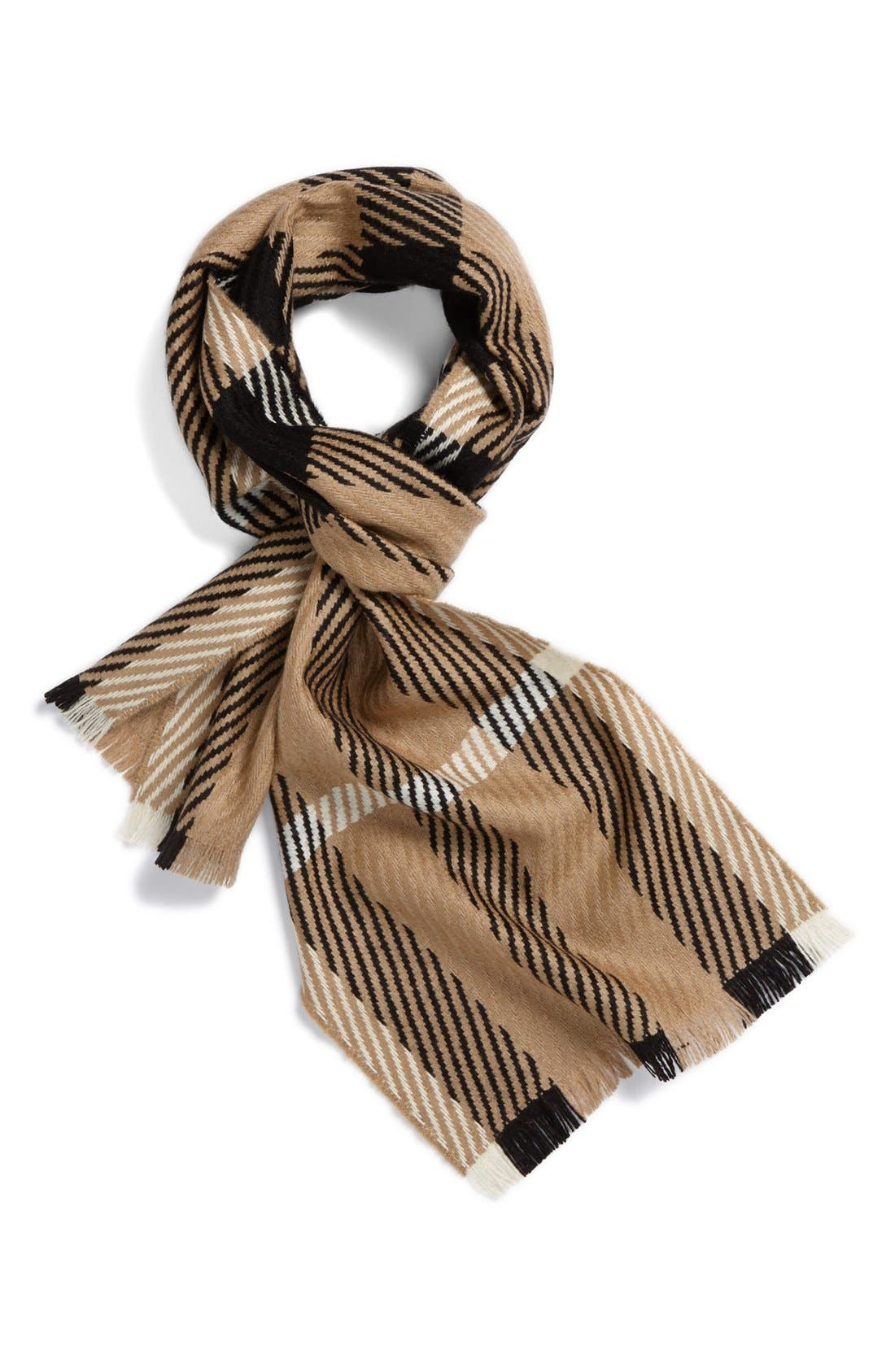 Exploded Check Wool & Cashmere Scarf, Main, color, 200