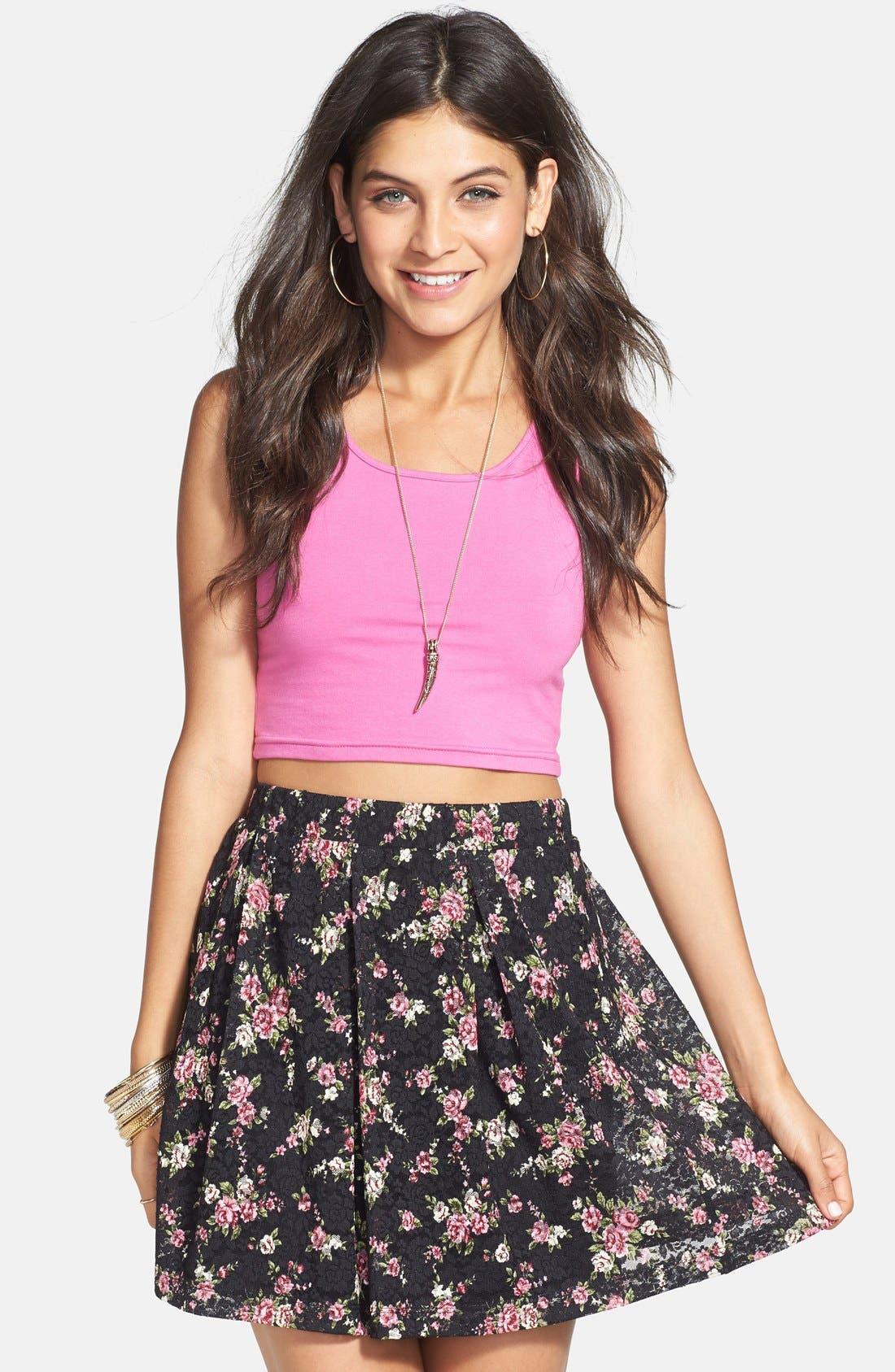 Floral Lace Skirt,                             Main thumbnail 1, color,                             001