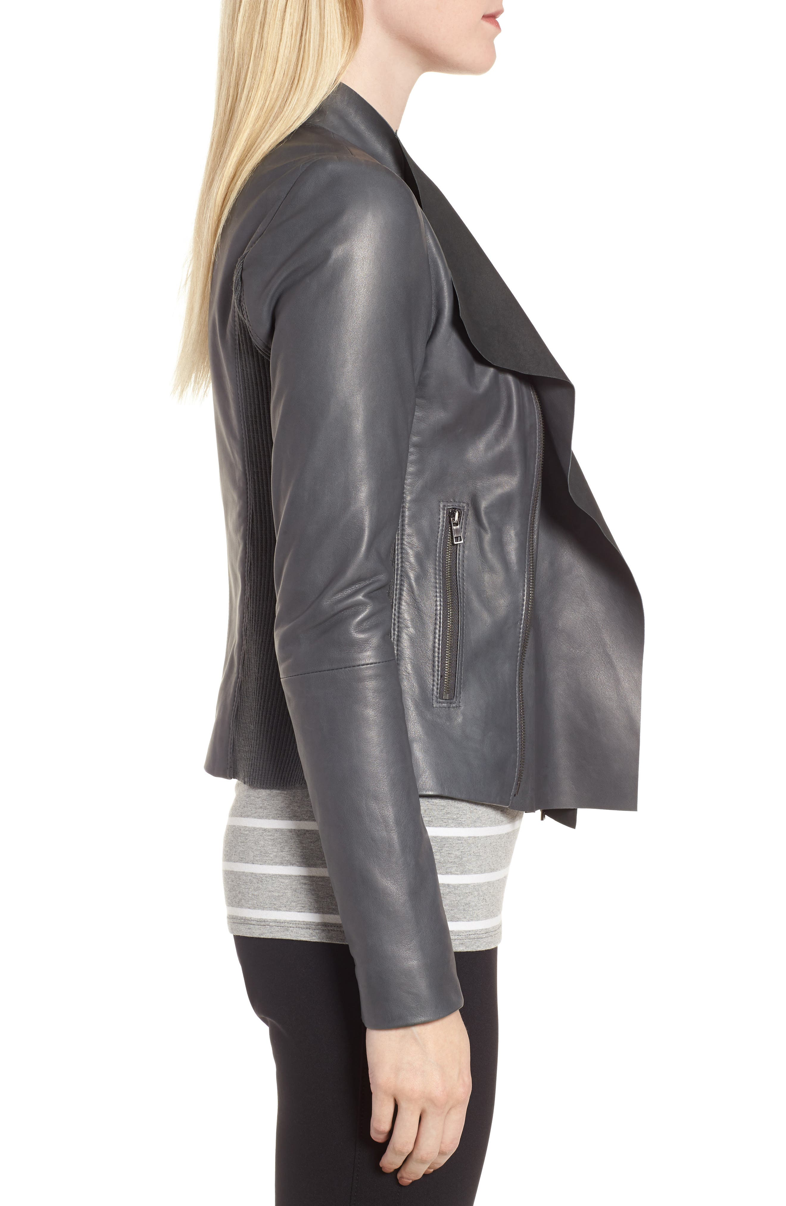 Cascade Front Leather Jacket,                             Alternate thumbnail 3, color,                             021