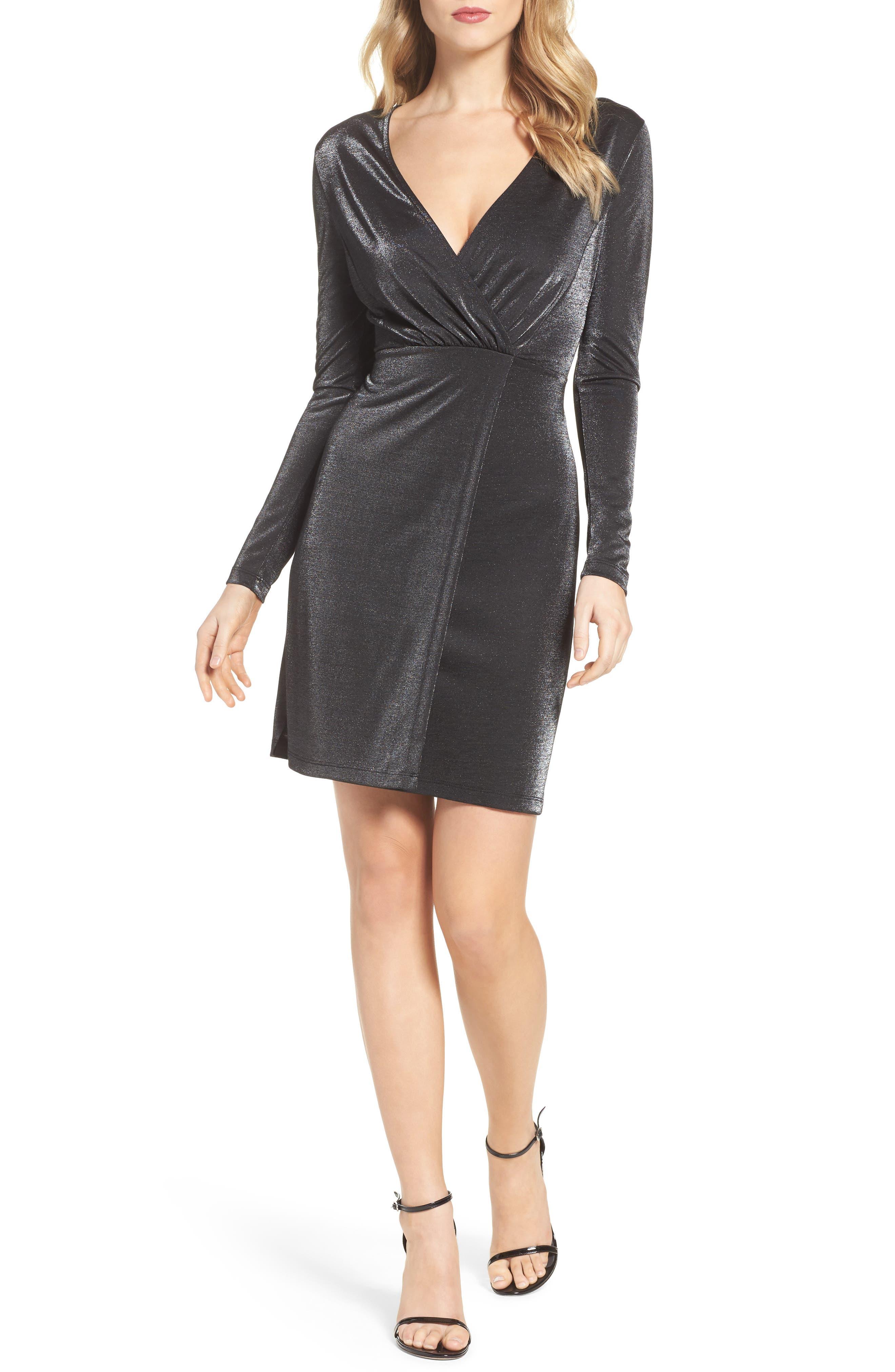 Arlene Faux Wrap Dress,                             Main thumbnail 1, color,                             007