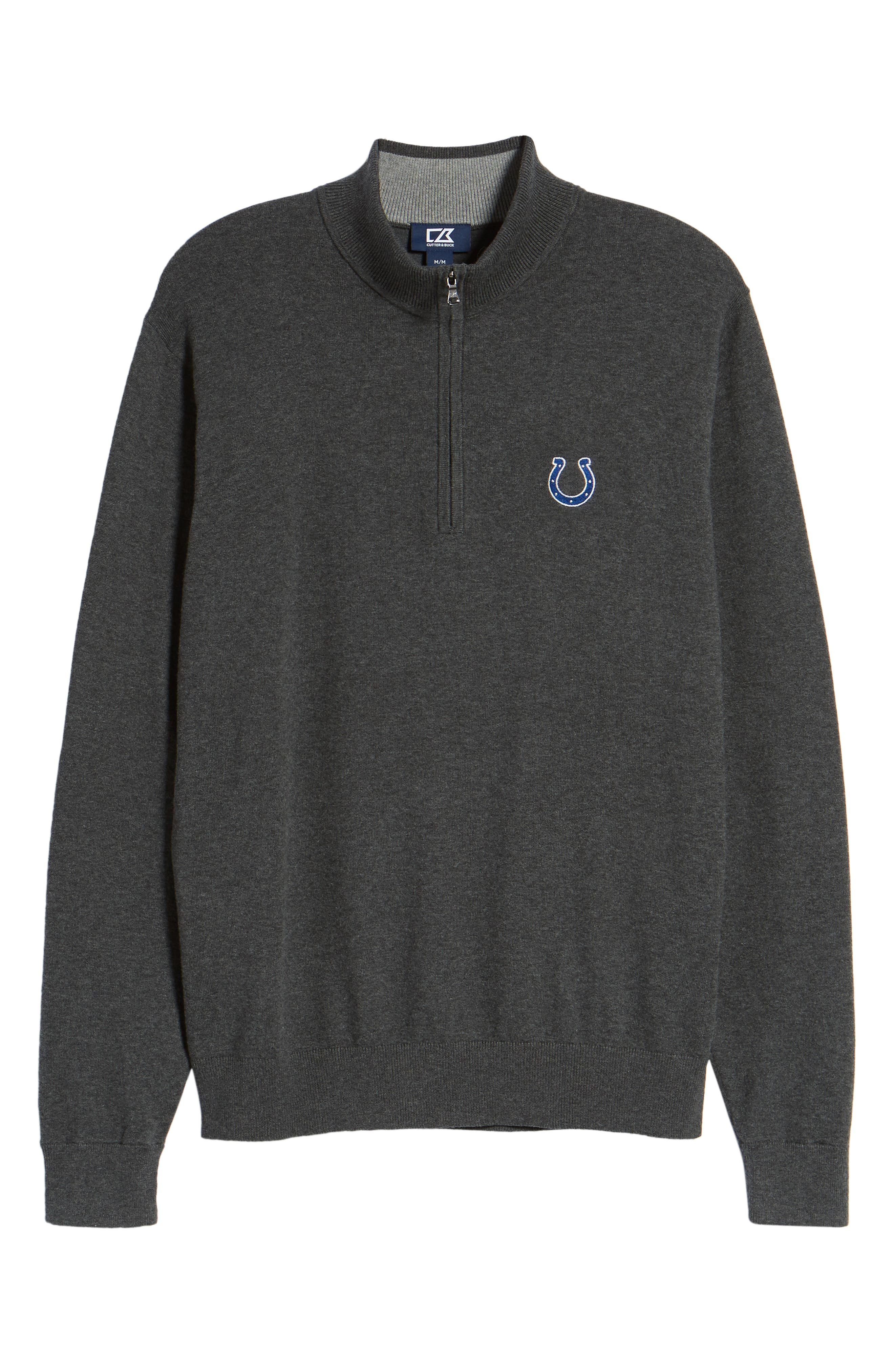 CUTTER & BUCK,                             Indianapolis Colts - Lakemont Regular Fit Quarter Zip Sweater,                             Alternate thumbnail 6, color,                             CHARCOAL HEATHER