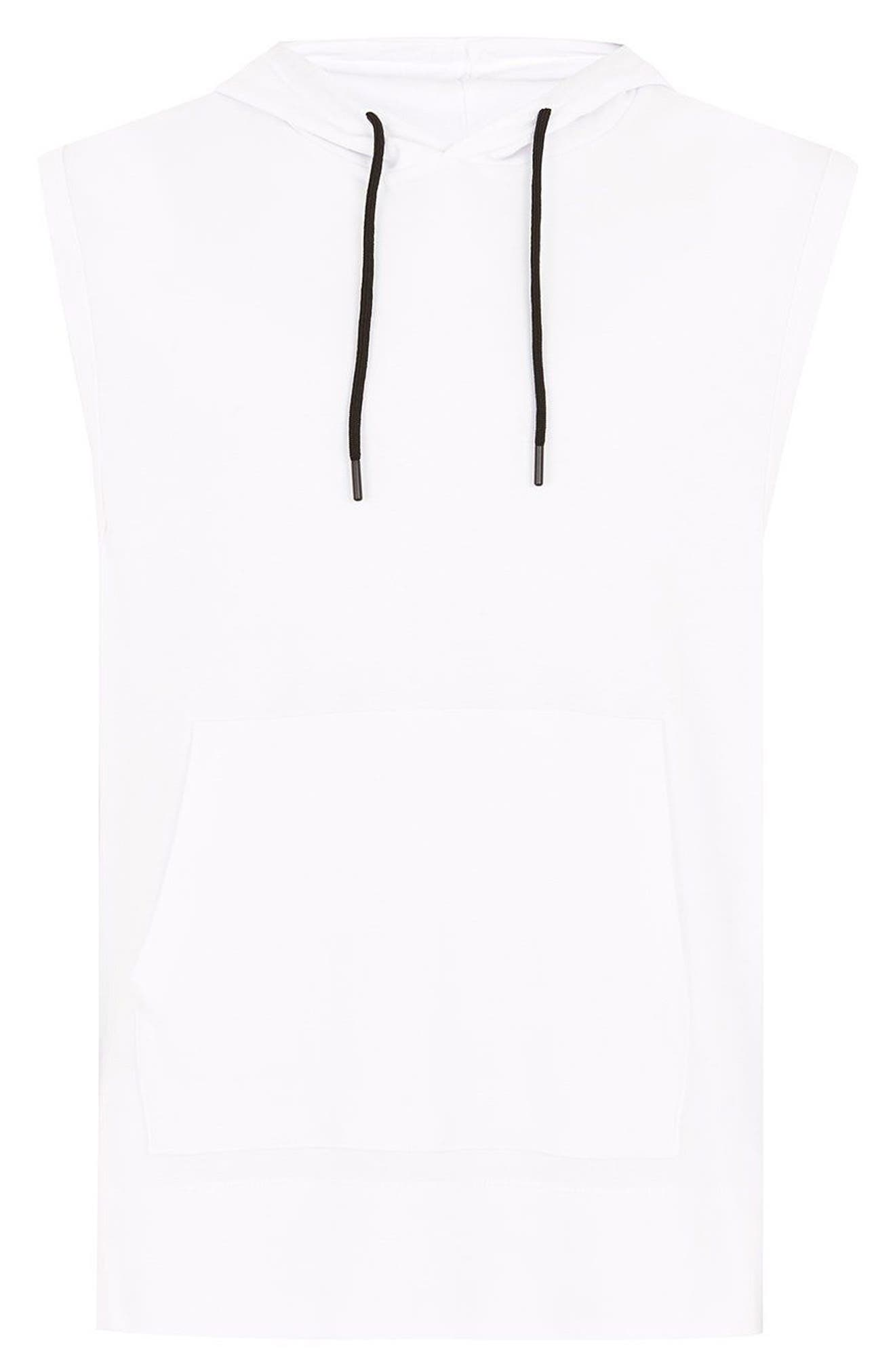 Classic Fit Taped Sleeveless Hoodie,                             Alternate thumbnail 5, color,                             100