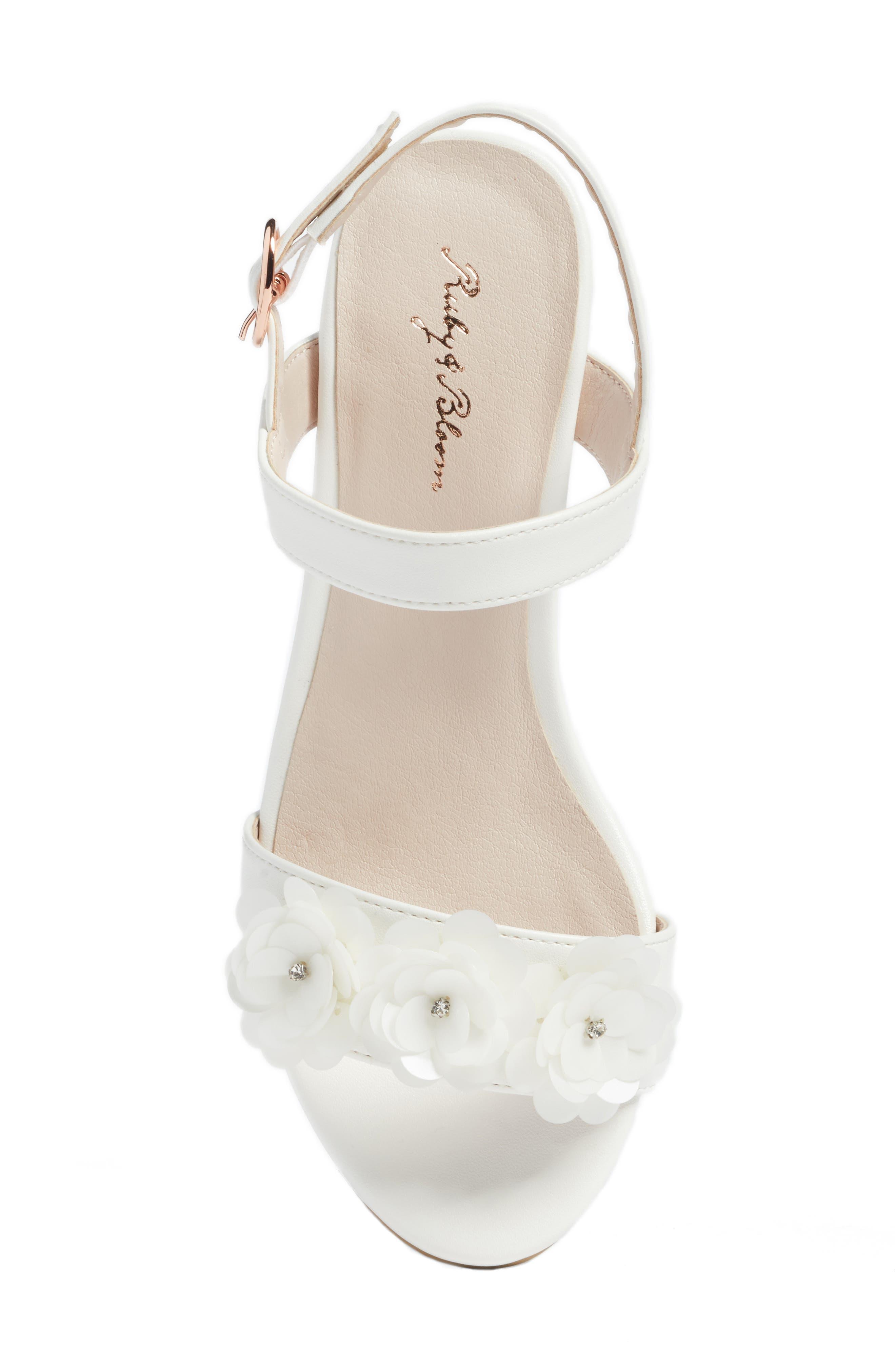 Dina Flowered Sandal,                             Alternate thumbnail 5, color,                             WHITE FAUX LEATHER