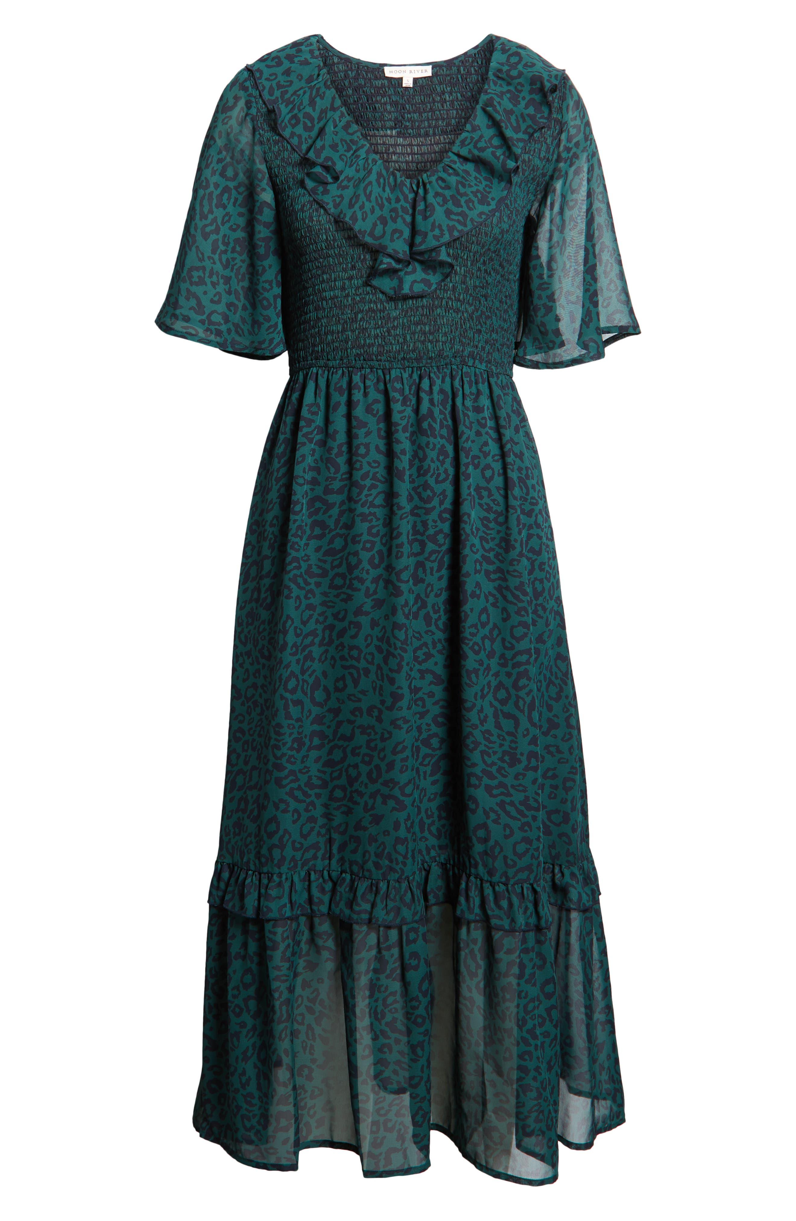 Leopard Print Smocked Dress,                             Alternate thumbnail 7, color,                             GREEN LEOPARD