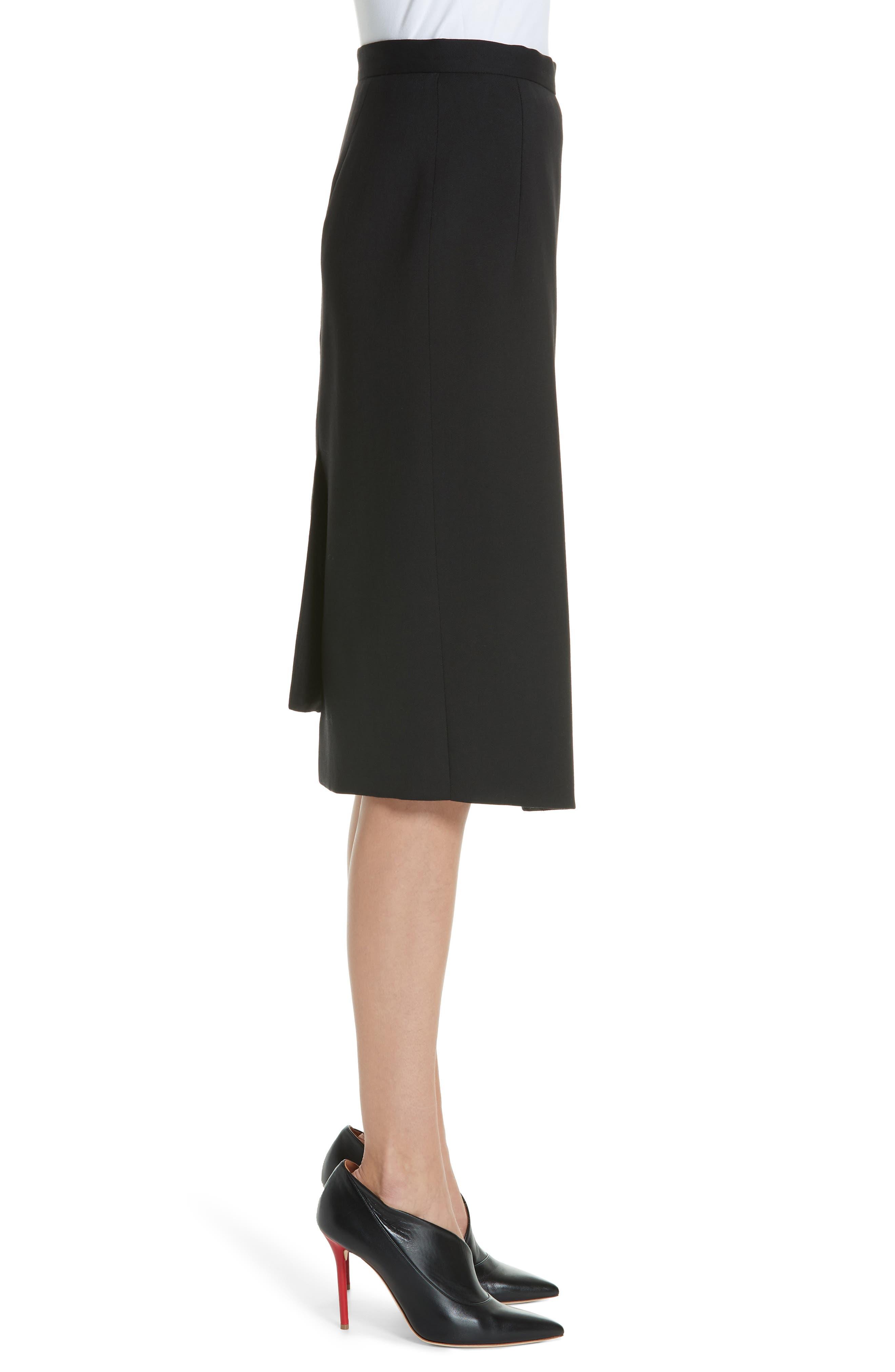 Button Detail Slit Stretch Wool Pencil Skirt,                             Alternate thumbnail 3, color,                             001 BLACK