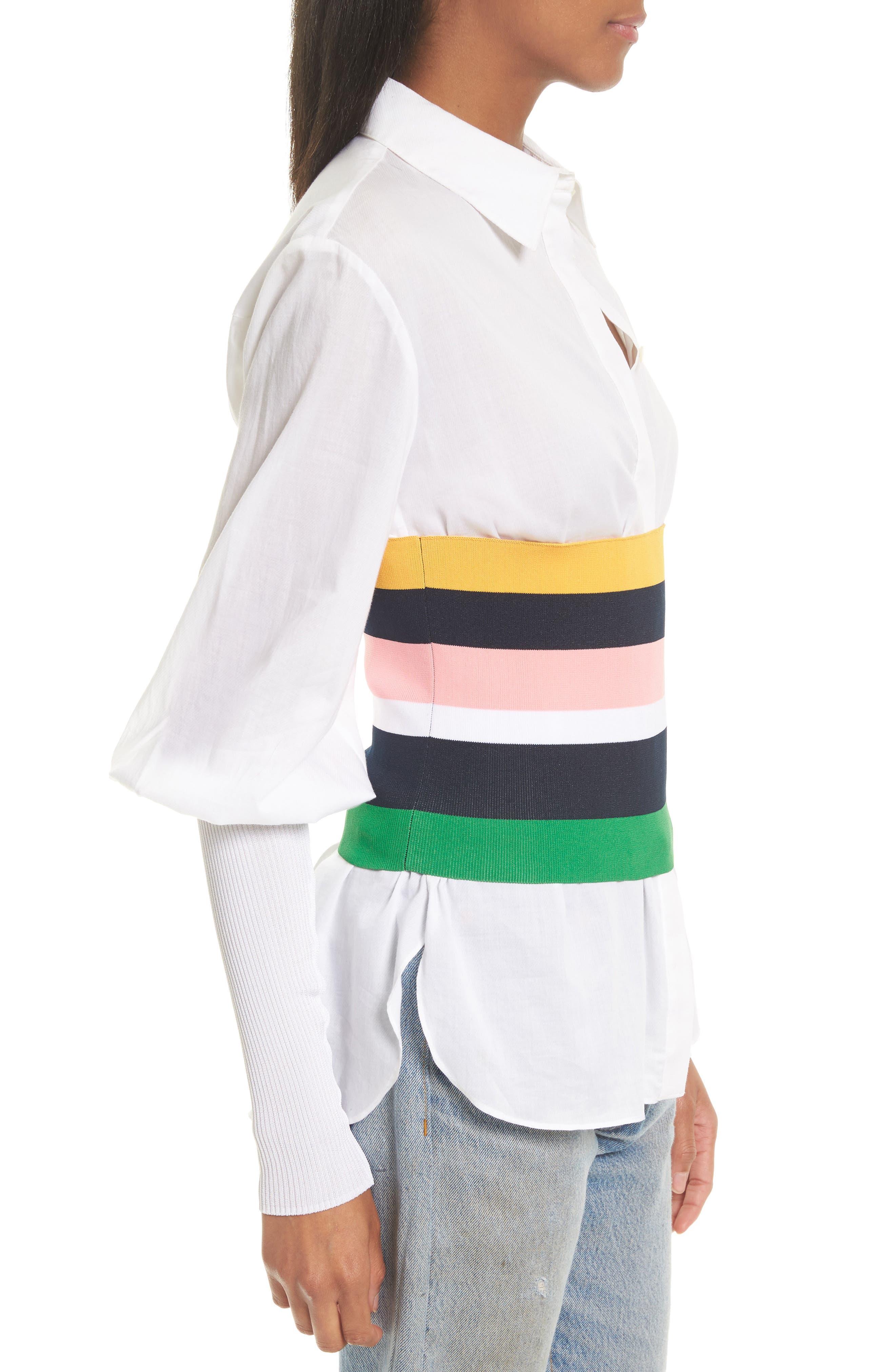 Rib Knit Stripe Tube Corset,                             Alternate thumbnail 3, color,                             001