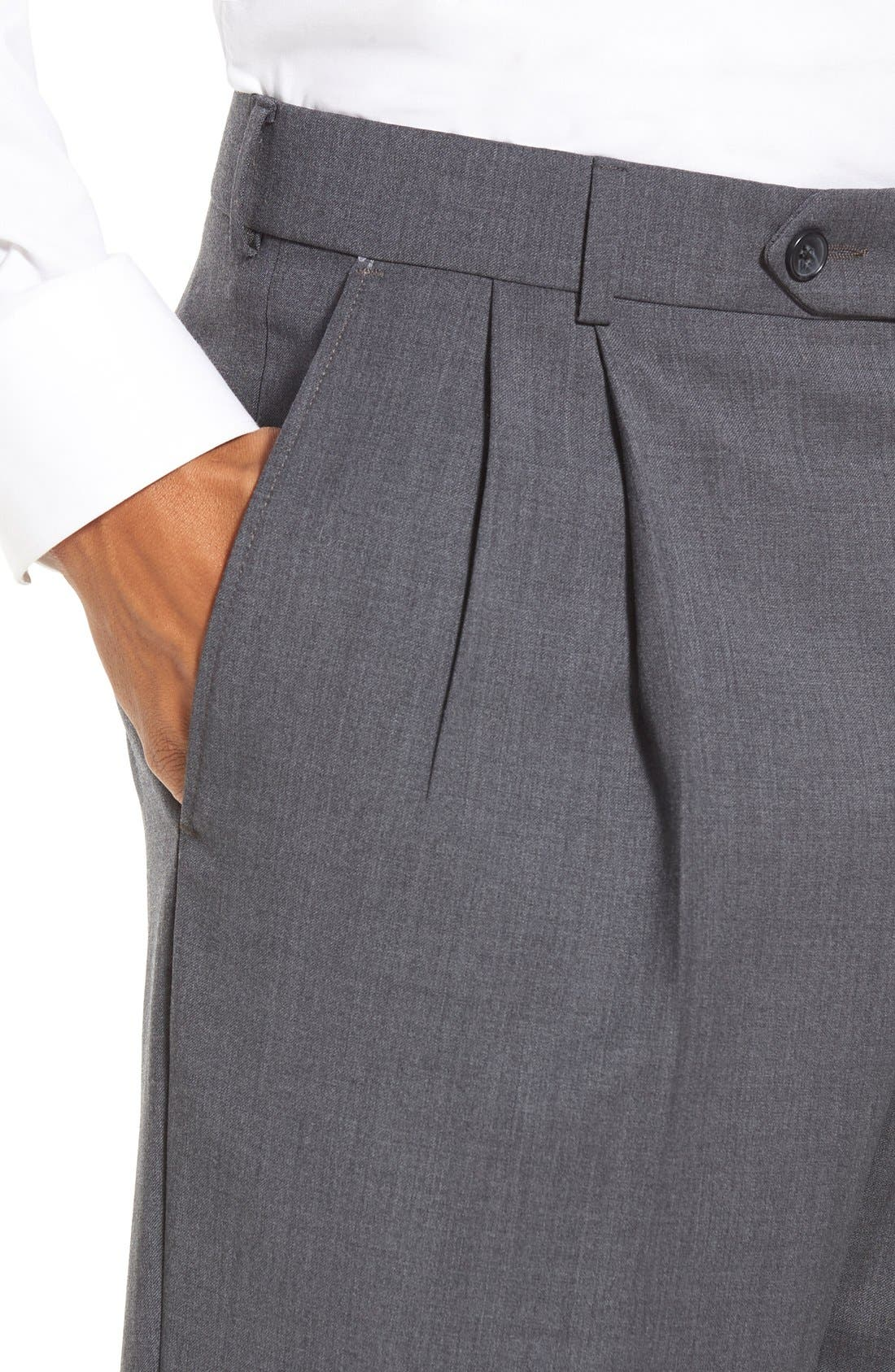 Pleated Solid Wool Trousers,                             Alternate thumbnail 45, color,