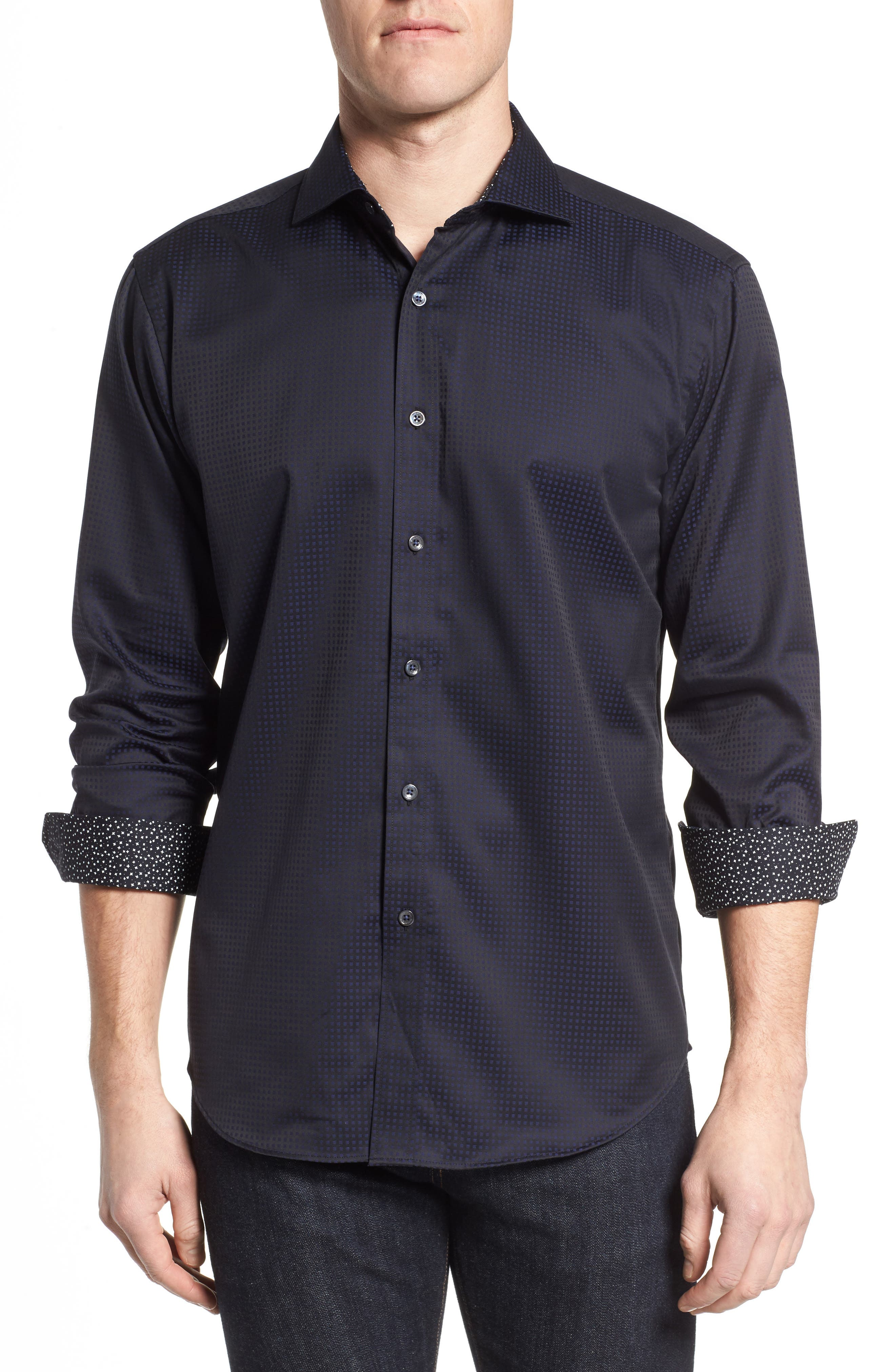 Shaped Fit Check Sport Shirt,                         Main,                         color, 410