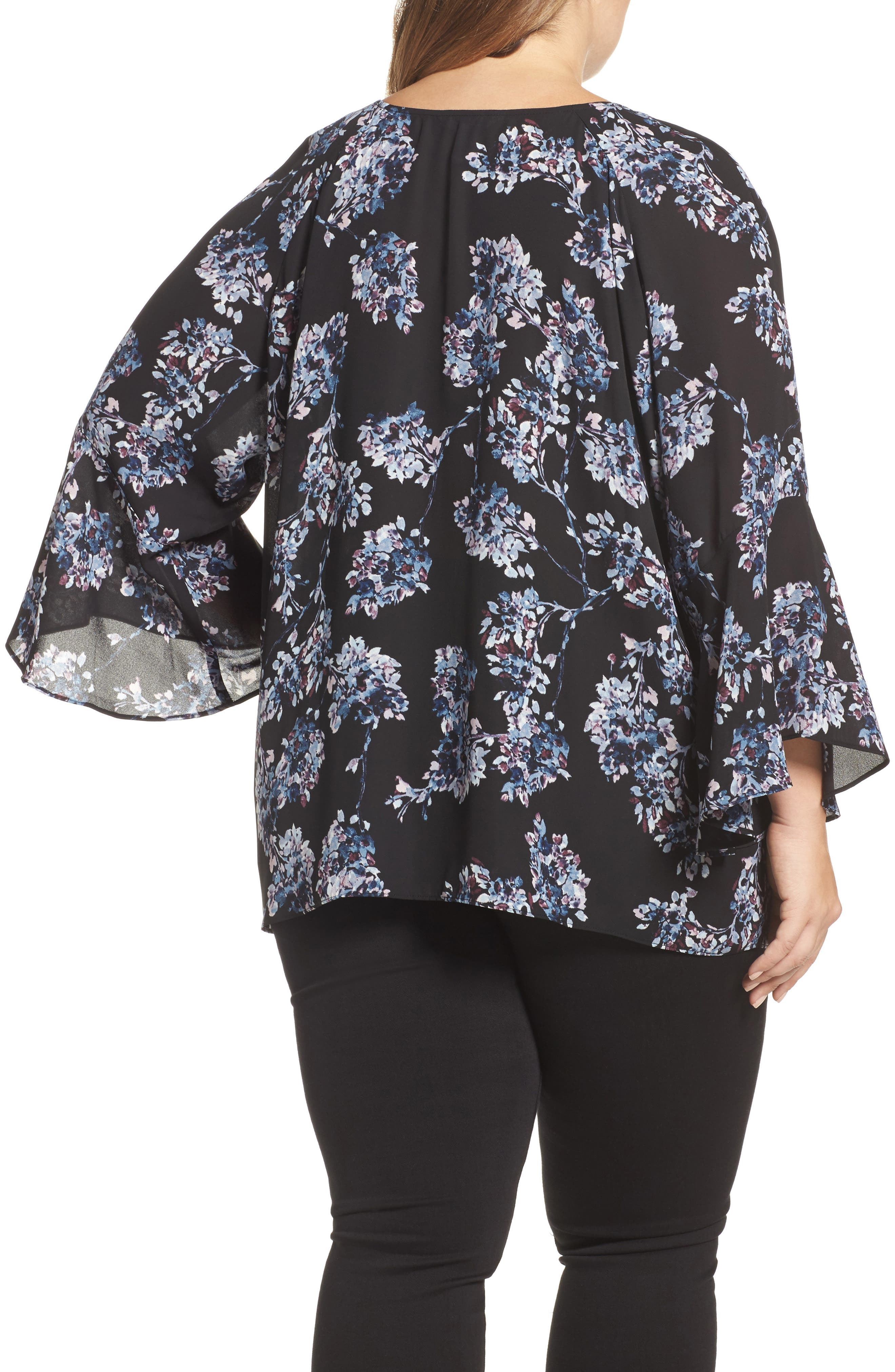 Floral Print Bell Sleeve Top,                             Alternate thumbnail 2, color,