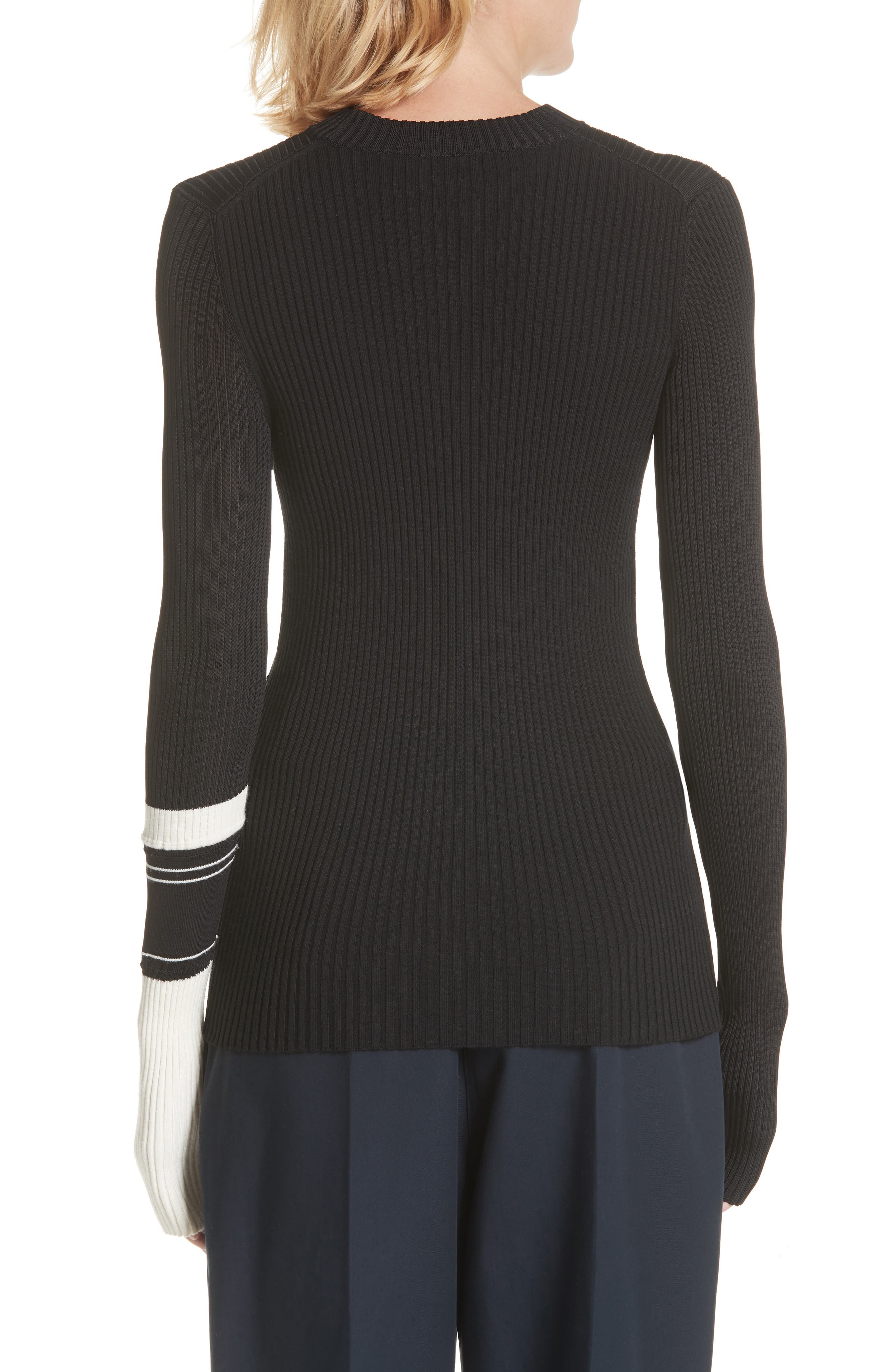 Varsity Stripe Colorblock Sweater,                             Alternate thumbnail 2, color,                             BLACK IVORY NAVY