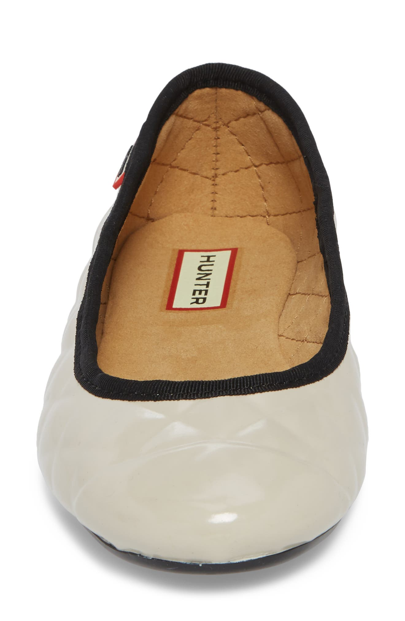 Quilted Ballet Flat,                             Alternate thumbnail 4, color,                             PARCHMENT GREY/ BLACK