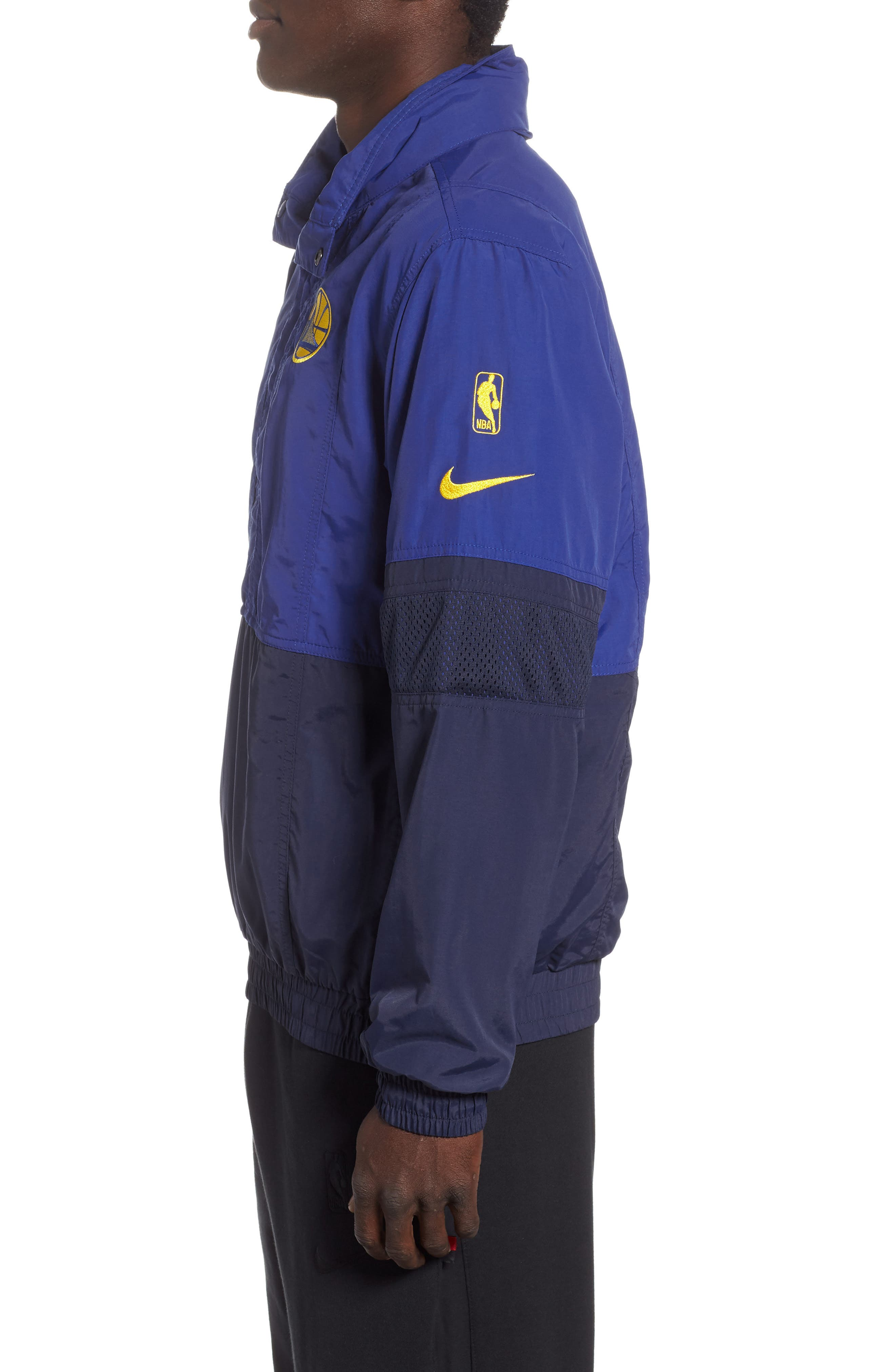 Golden State Warriors Courtside Warm-Up Jacket,                             Alternate thumbnail 3, color,                             RUSH BLUE/ NAVY/ AMARILLO