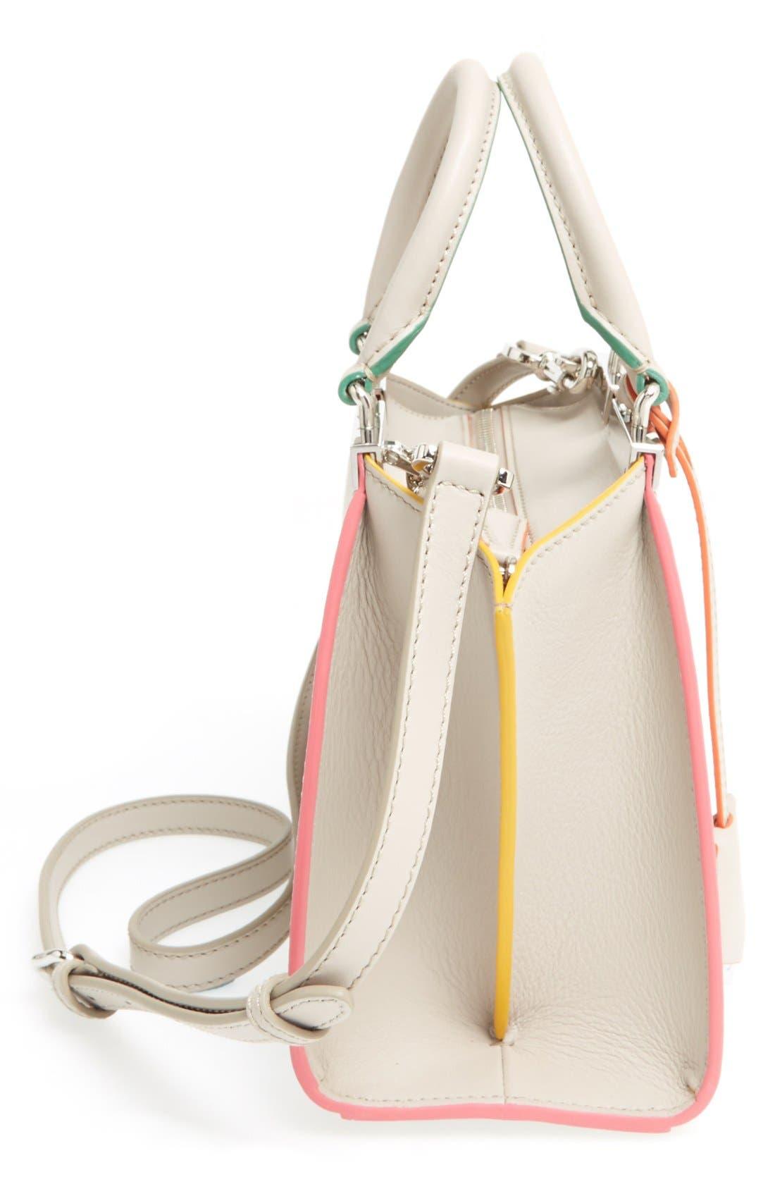 'Mini 3Jours' Calfskin Leather Shopper,                             Alternate thumbnail 8, color,