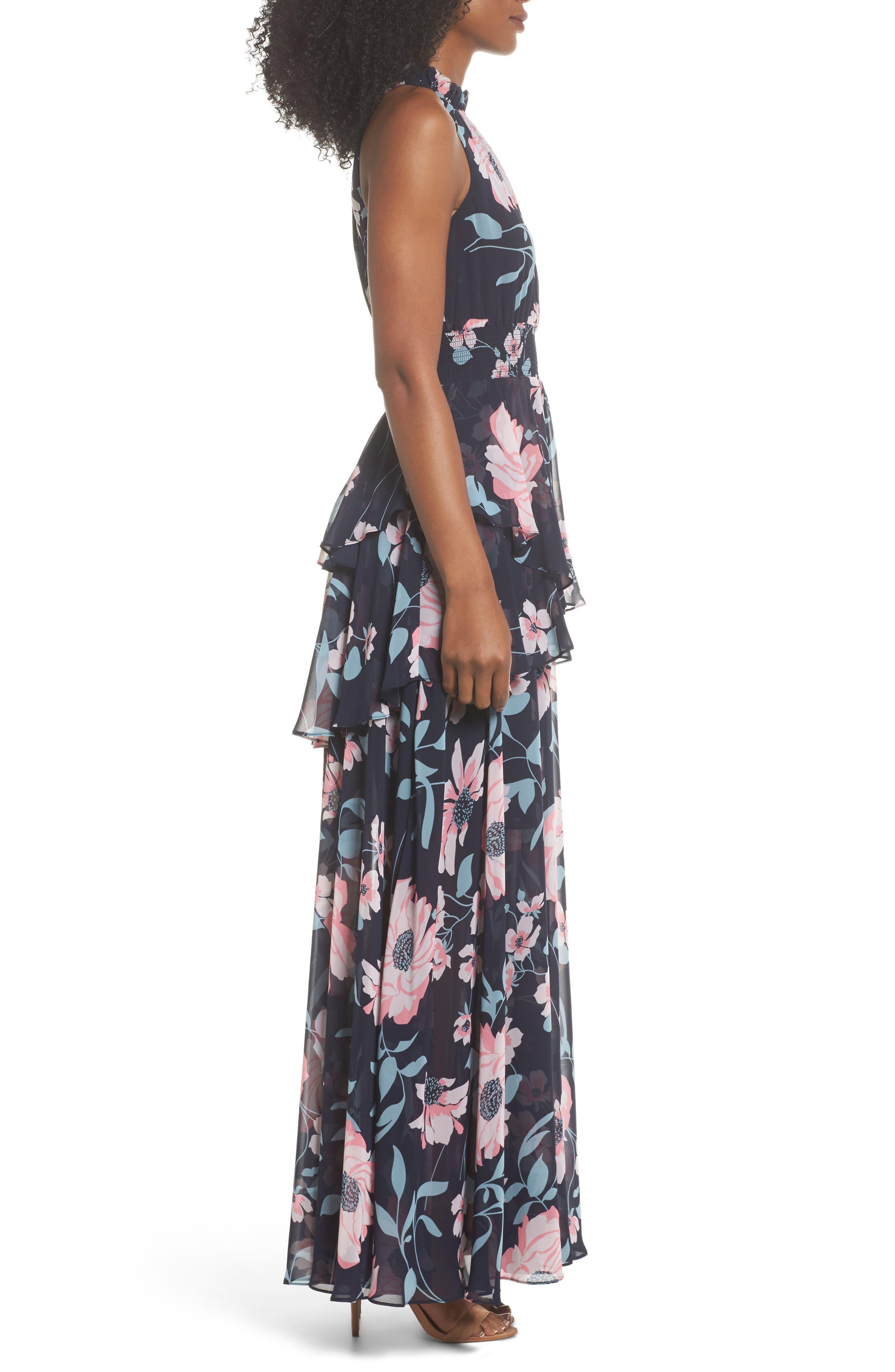 Floral Maxi Dress,                             Alternate thumbnail 3, color,