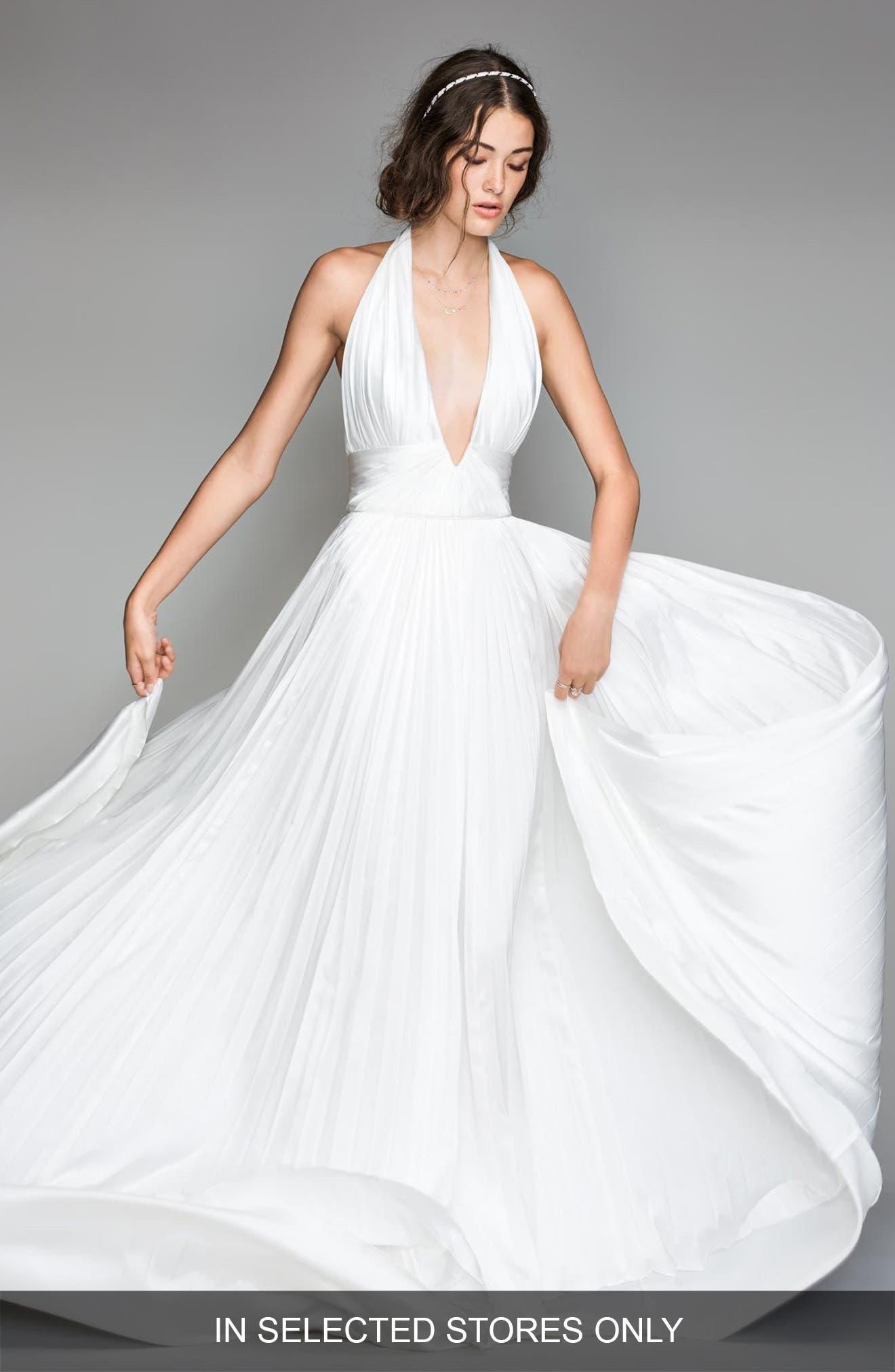 Badri Charmeuse Pleated Halter Gown,                             Main thumbnail 1, color,                             DIAMOND WHITE