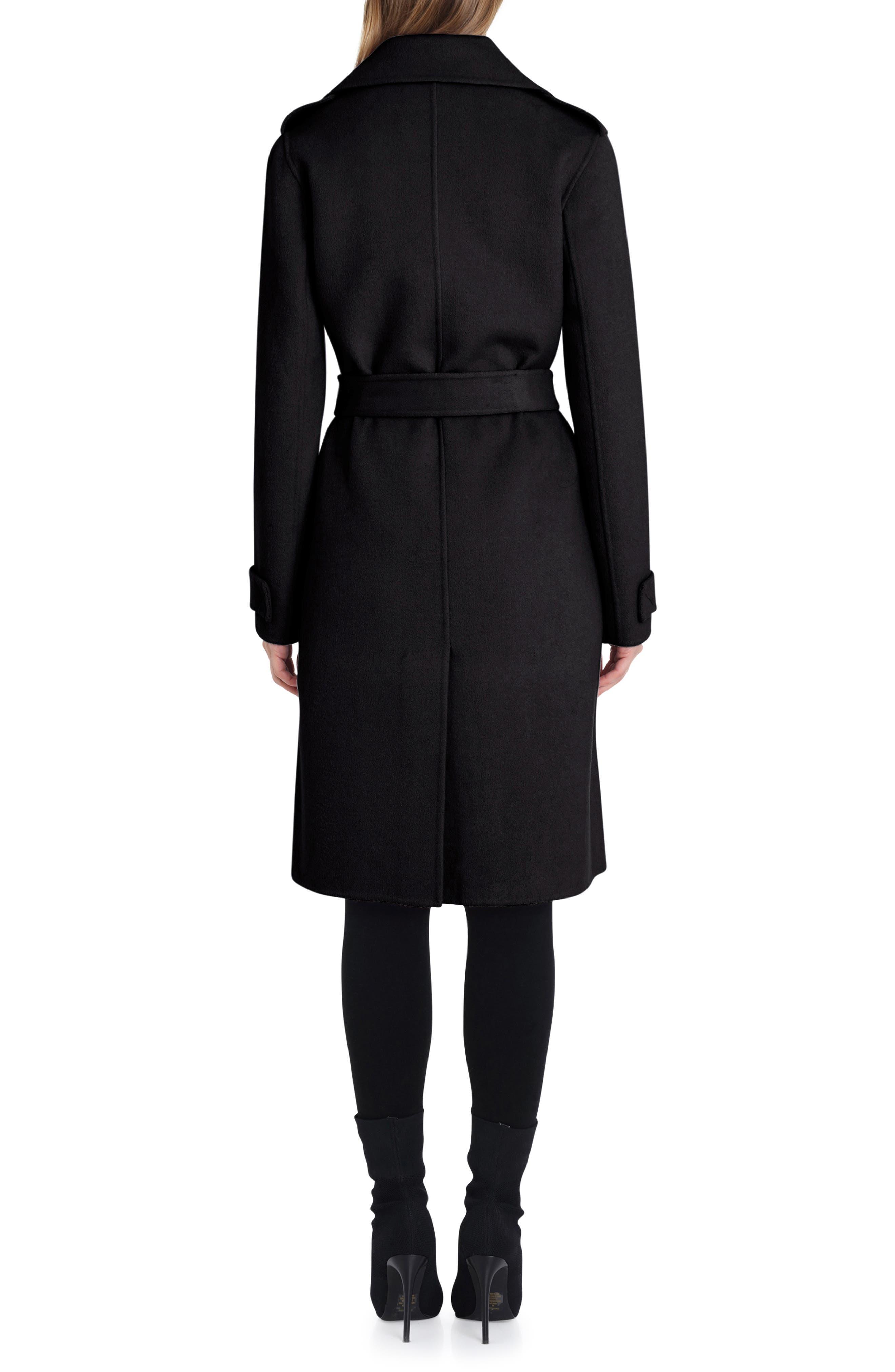 Double Face Wool Blend Wrap Front Coat,                             Alternate thumbnail 2, color,                             BLACK