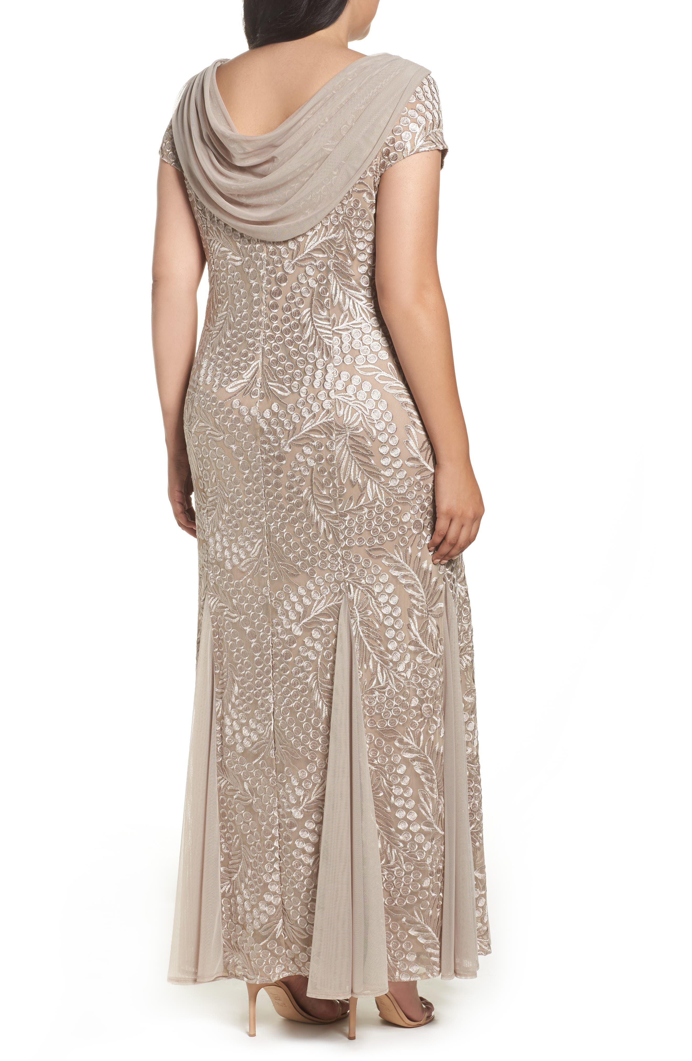 Cowl Back Embroidered Lace Gown,                             Alternate thumbnail 2, color,                             026