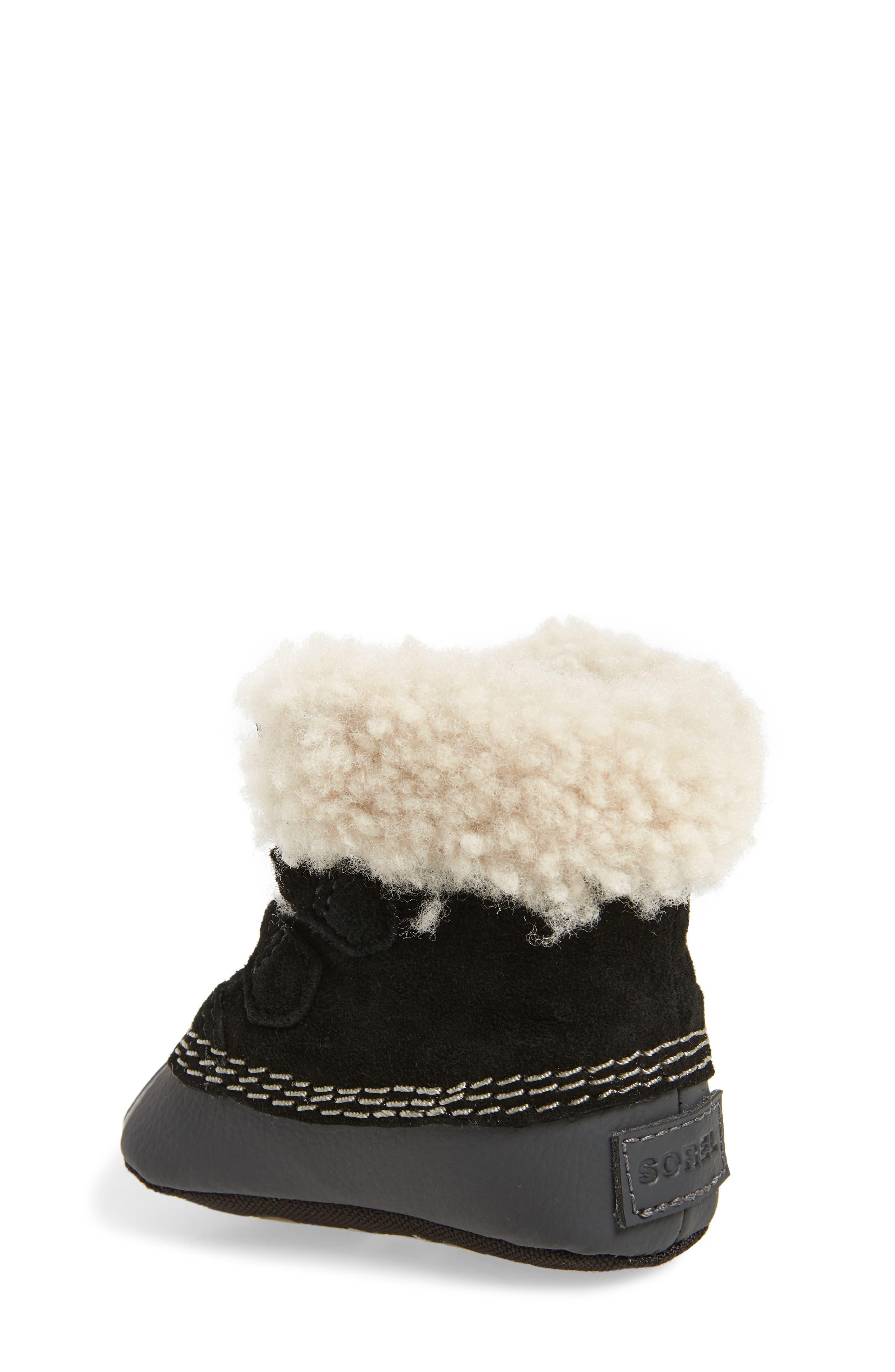 Caribootie Genuine Shearling Crib Shoe,                             Alternate thumbnail 2, color,                             001
