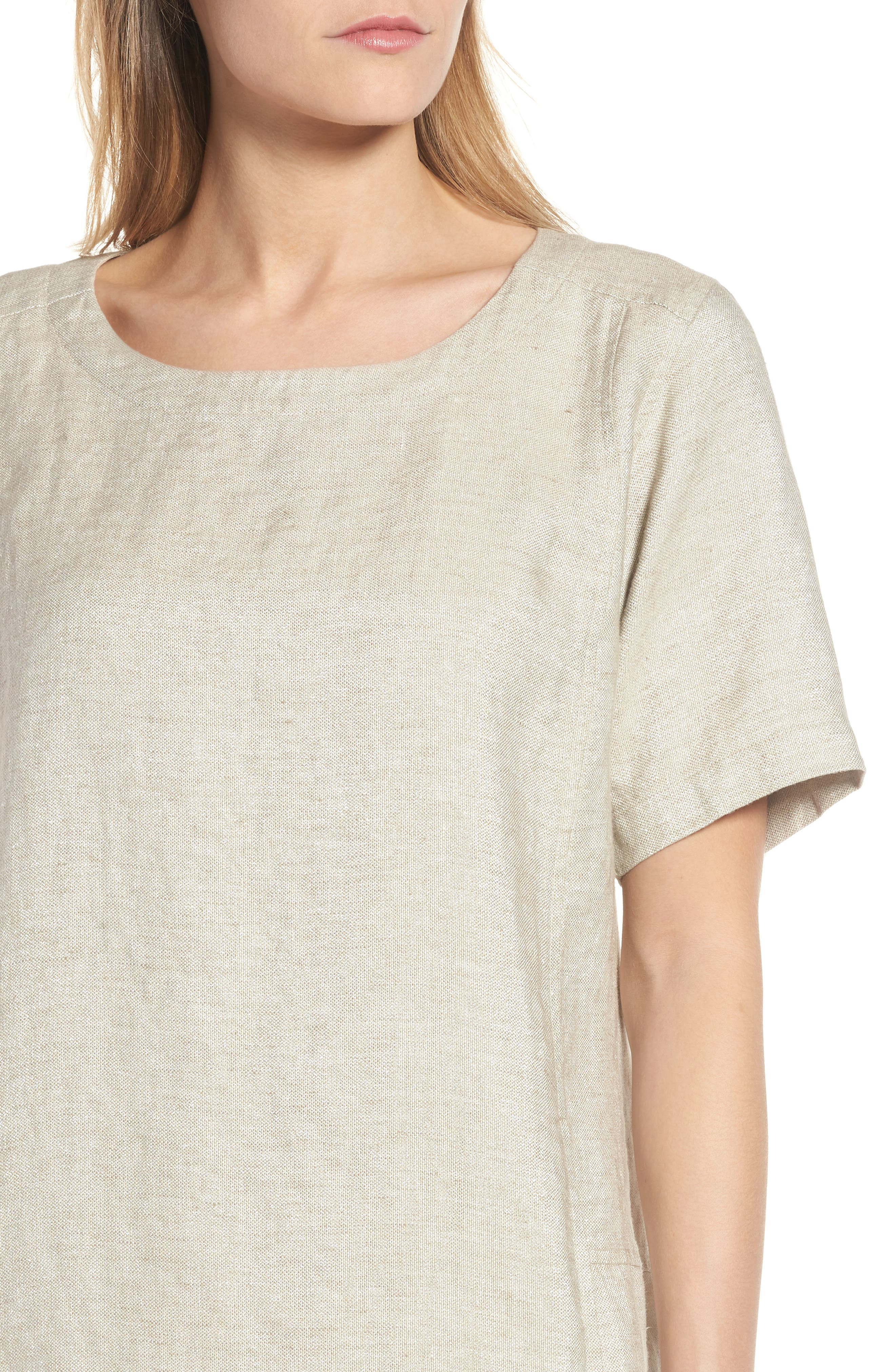 Scoop Neck Linen Blend Dress,                             Alternate thumbnail 4, color,                             257