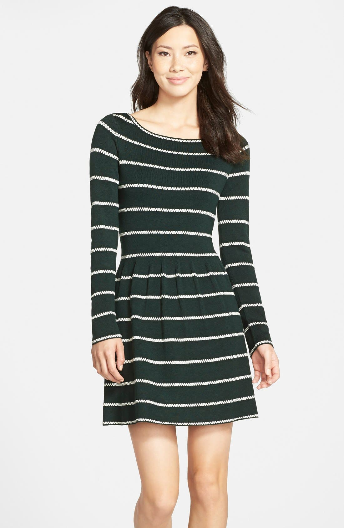 Stripe Fit & Flare Sweater Dress,                             Main thumbnail 1, color,                             310