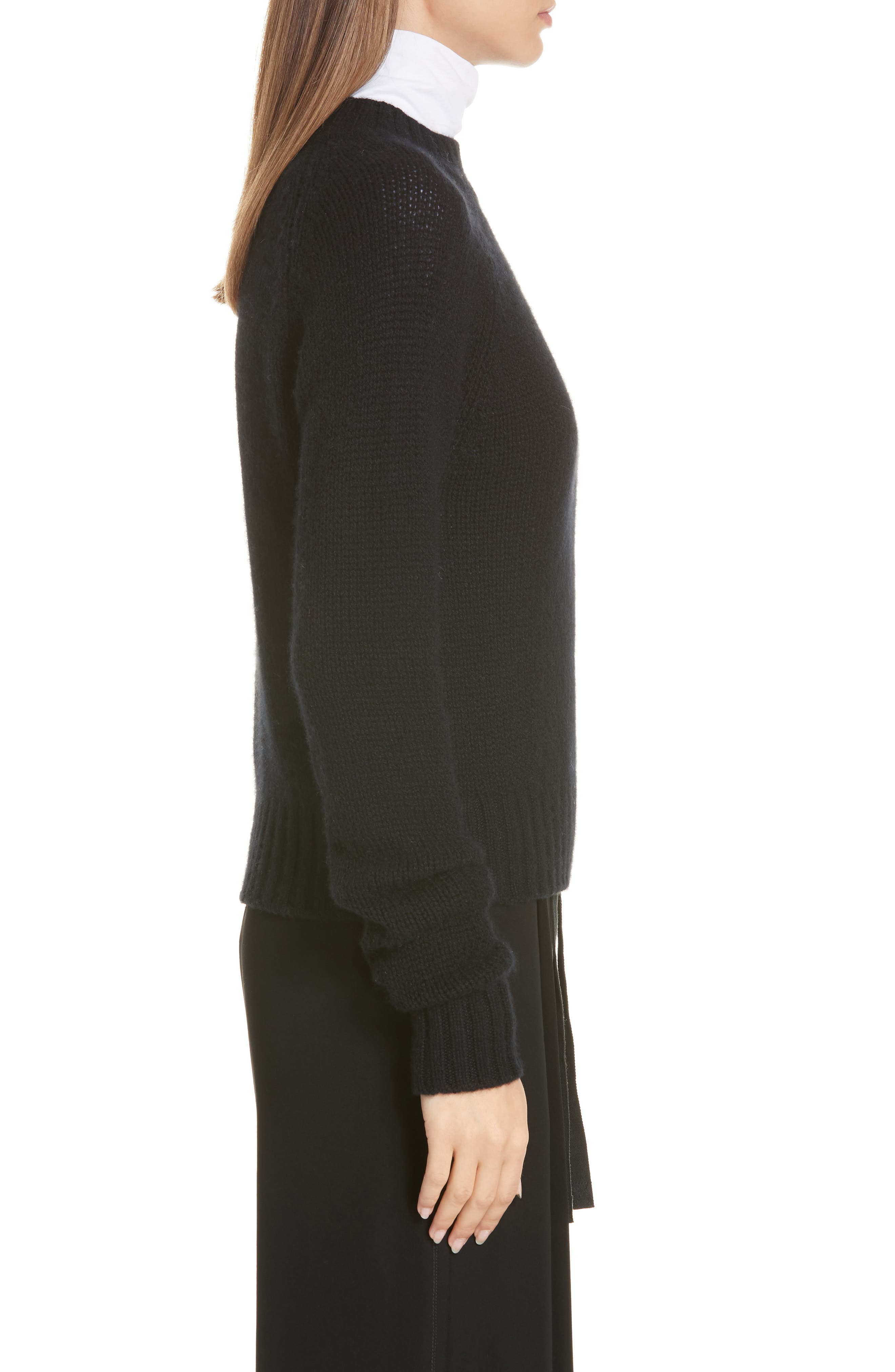 Shrunken Cashmere Sweater,                             Alternate thumbnail 3, color,                             BLACK