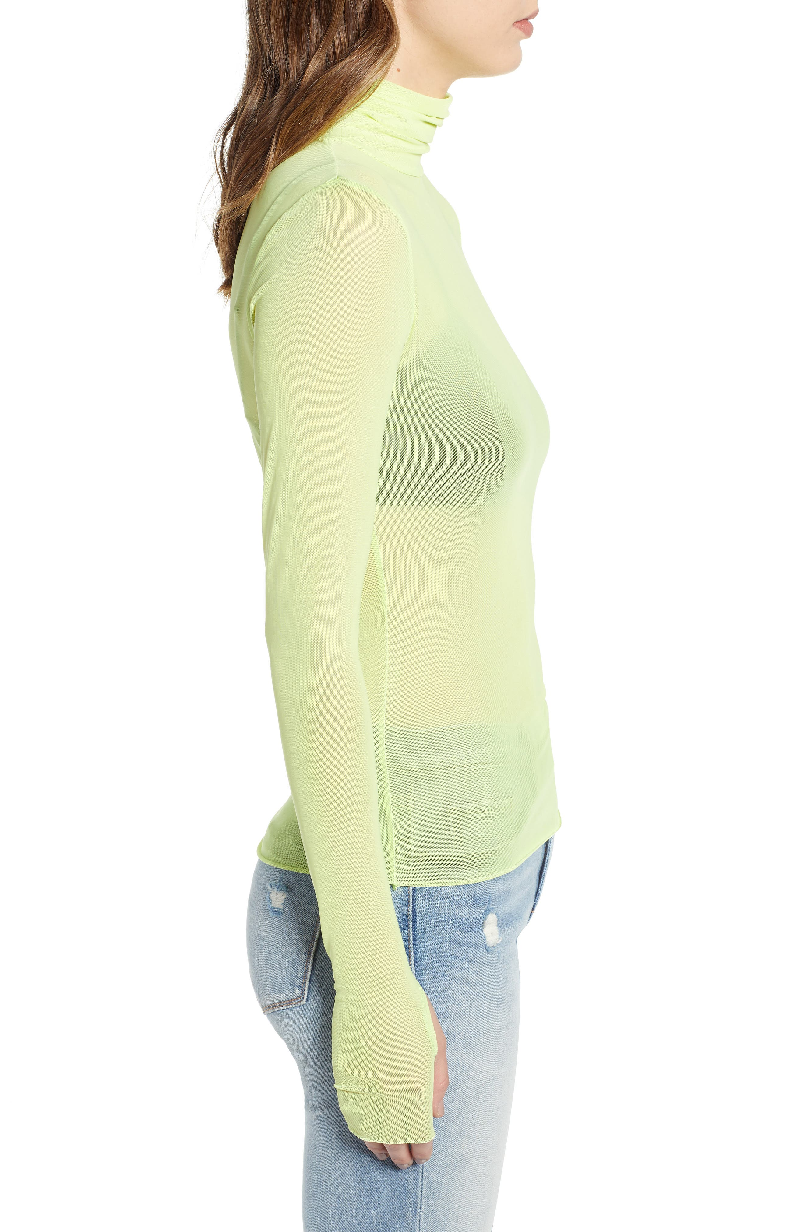 Zadie Semi Sheer Turtleneck,                             Alternate thumbnail 3, color,                             320