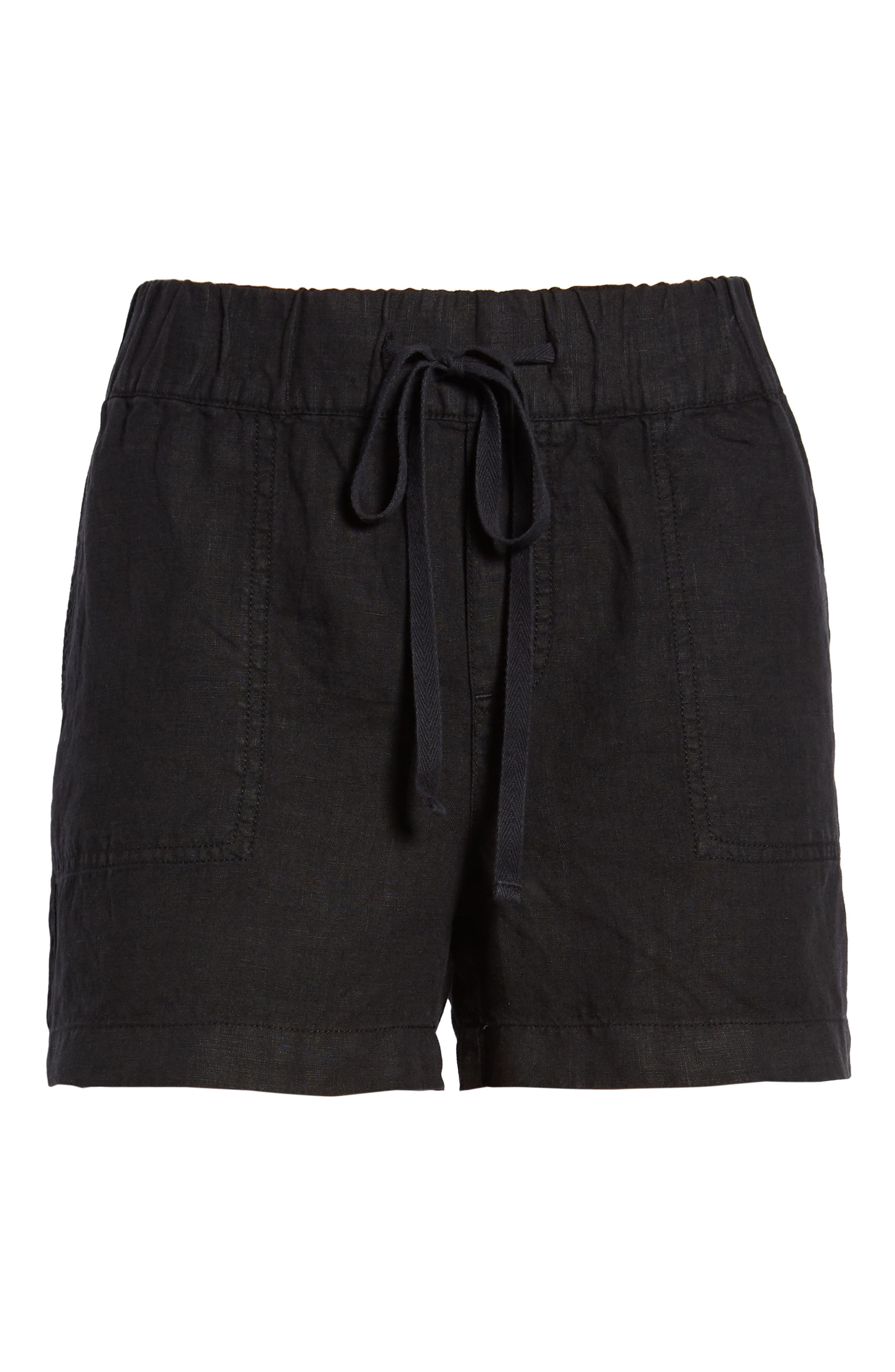 CASLON<SUP>®</SUP>,                             Linen Shorts,                             Alternate thumbnail 6, color,                             BLACK