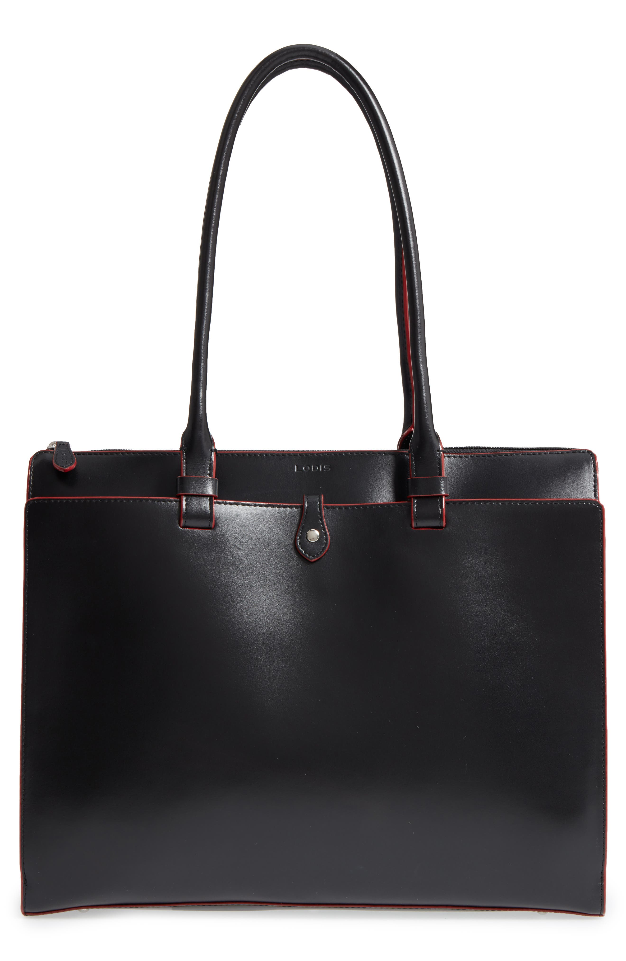 LODIS Audrey Under Lock & Key - Jessica RFID Leather Satchel,                             Main thumbnail 1, color,                             BLACK