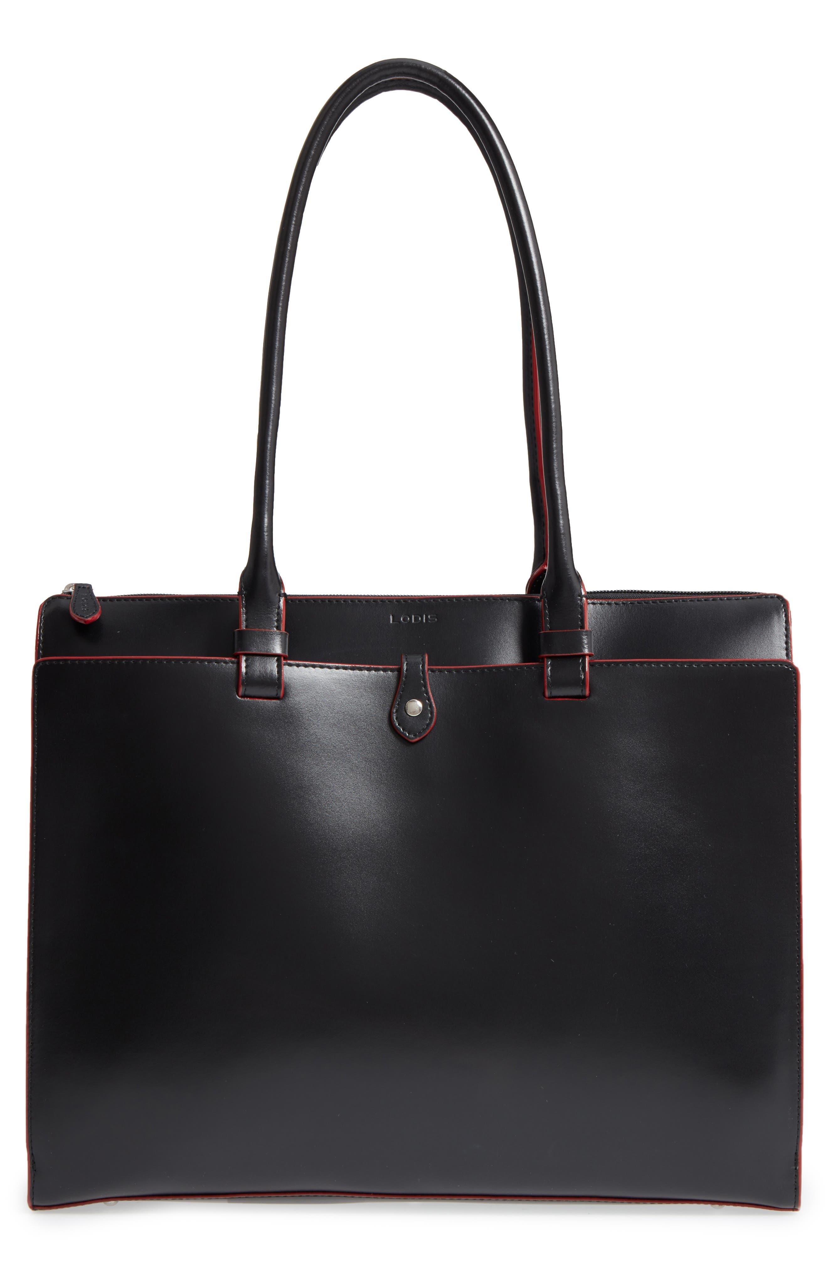 LODIS Audrey Under Lock & Key - Jessica RFID Leather Satchel,                         Main,                         color, BLACK