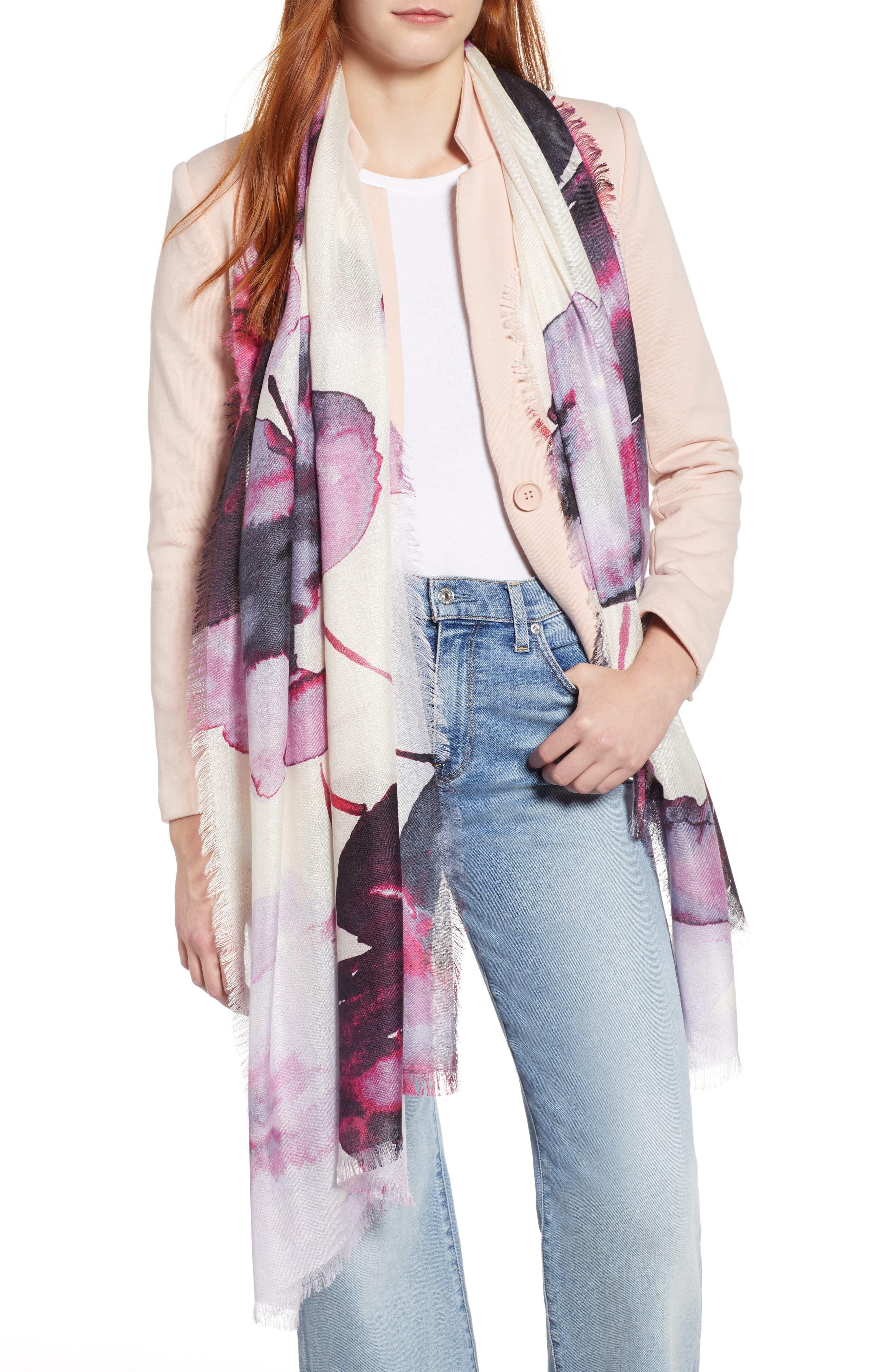 Eyelash Trim Print Cashmere & Silk Wrap,                             Main thumbnail 17, color,