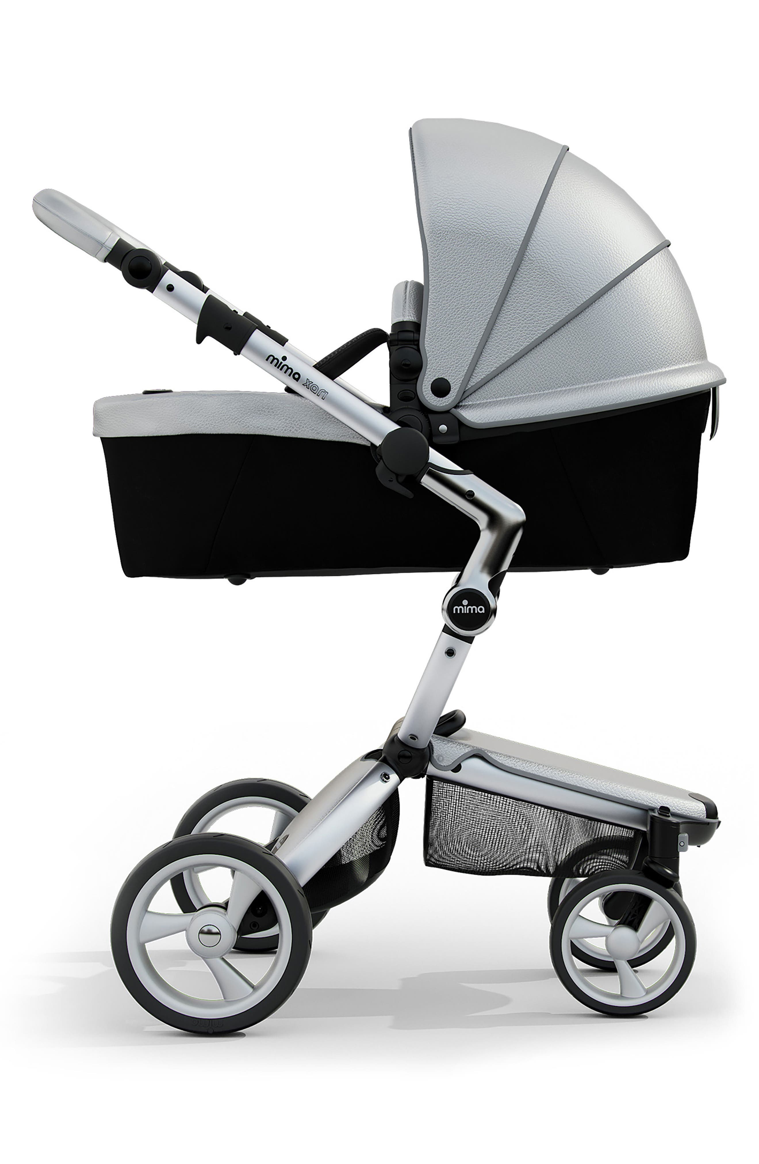 Xari Aluminum Chassis Stroller with Reversible Reclining Seat & Carrycot,                             Alternate thumbnail 4, color,                             ARGENTO / BLACK