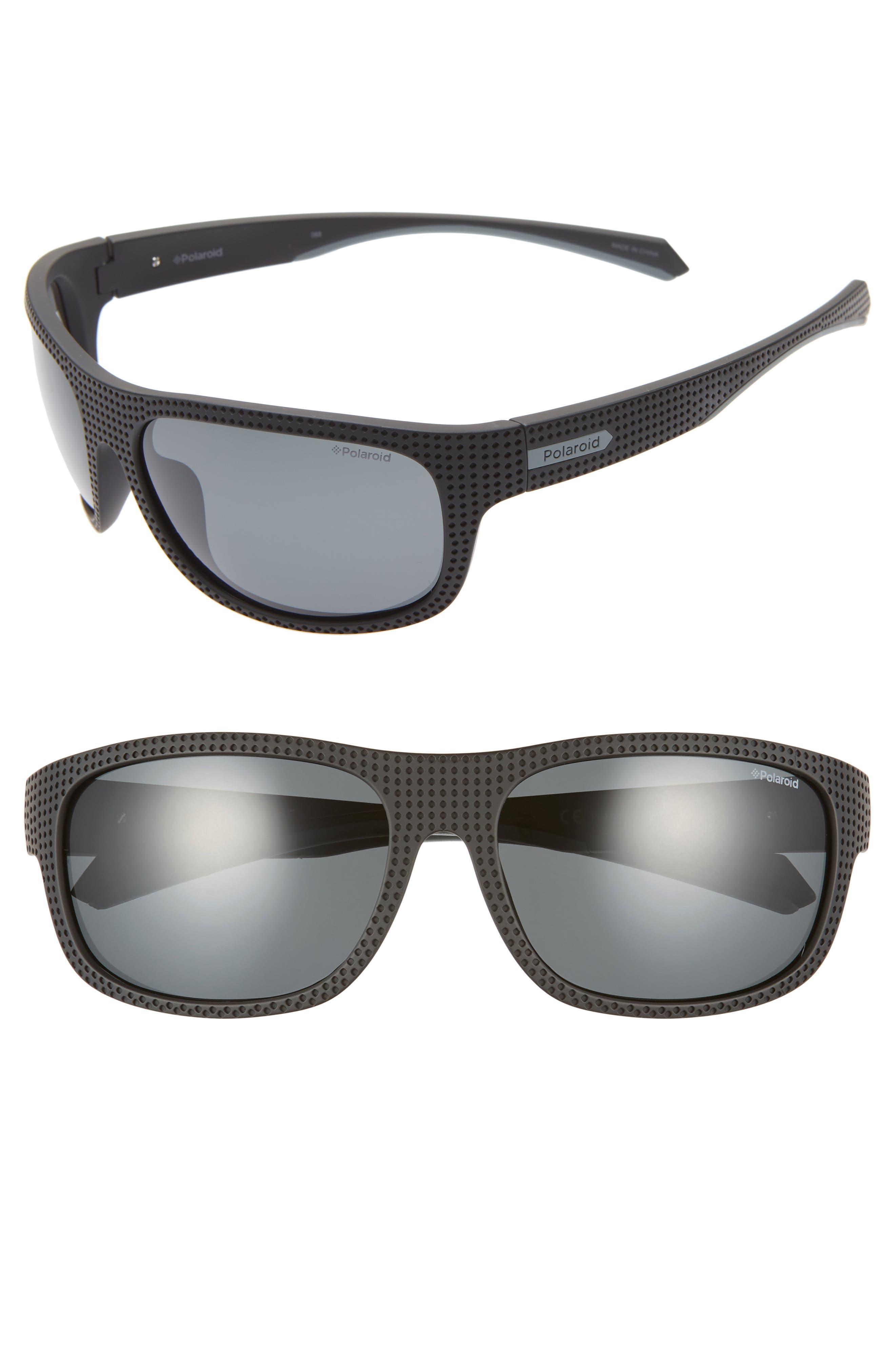 Plastic Wrap 63mm Polarized Sunglasses, Main, color, BLACK