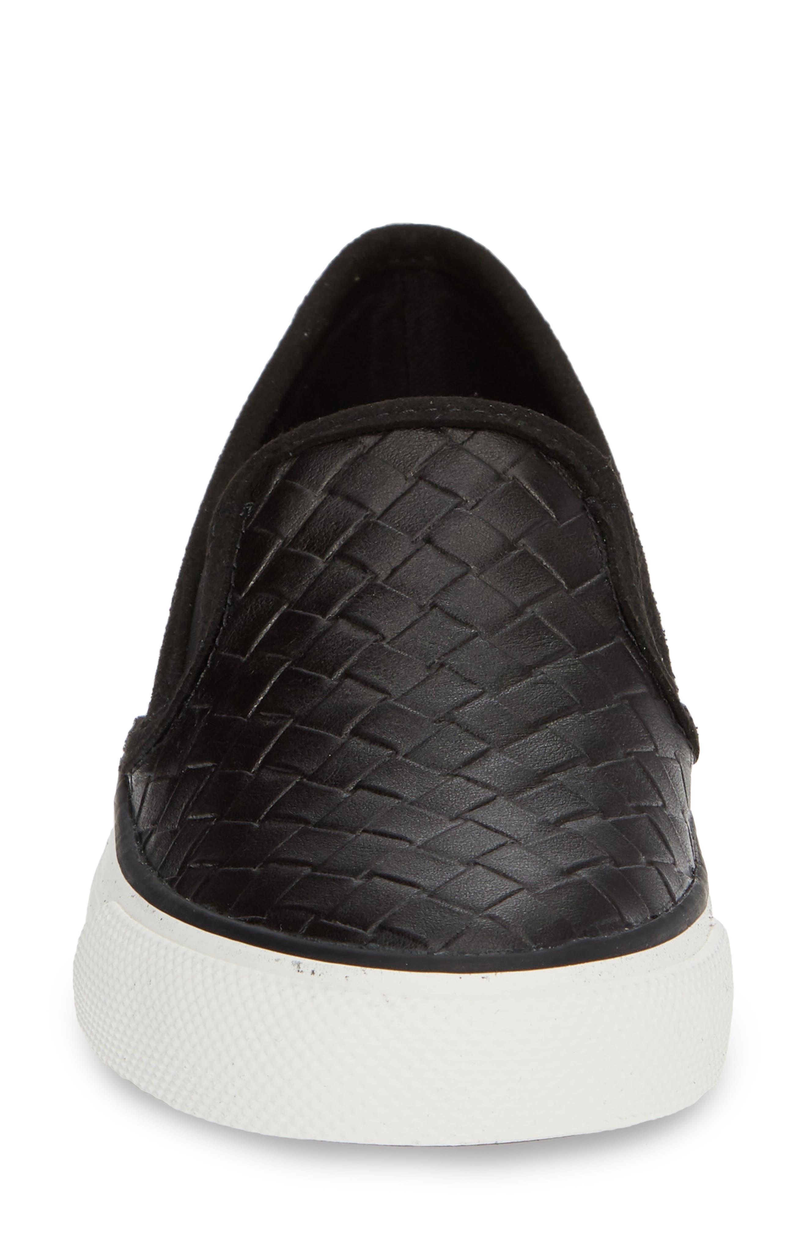Seaside Embossed Weave Slip-On Sneaker,                             Alternate thumbnail 4, color,                             001