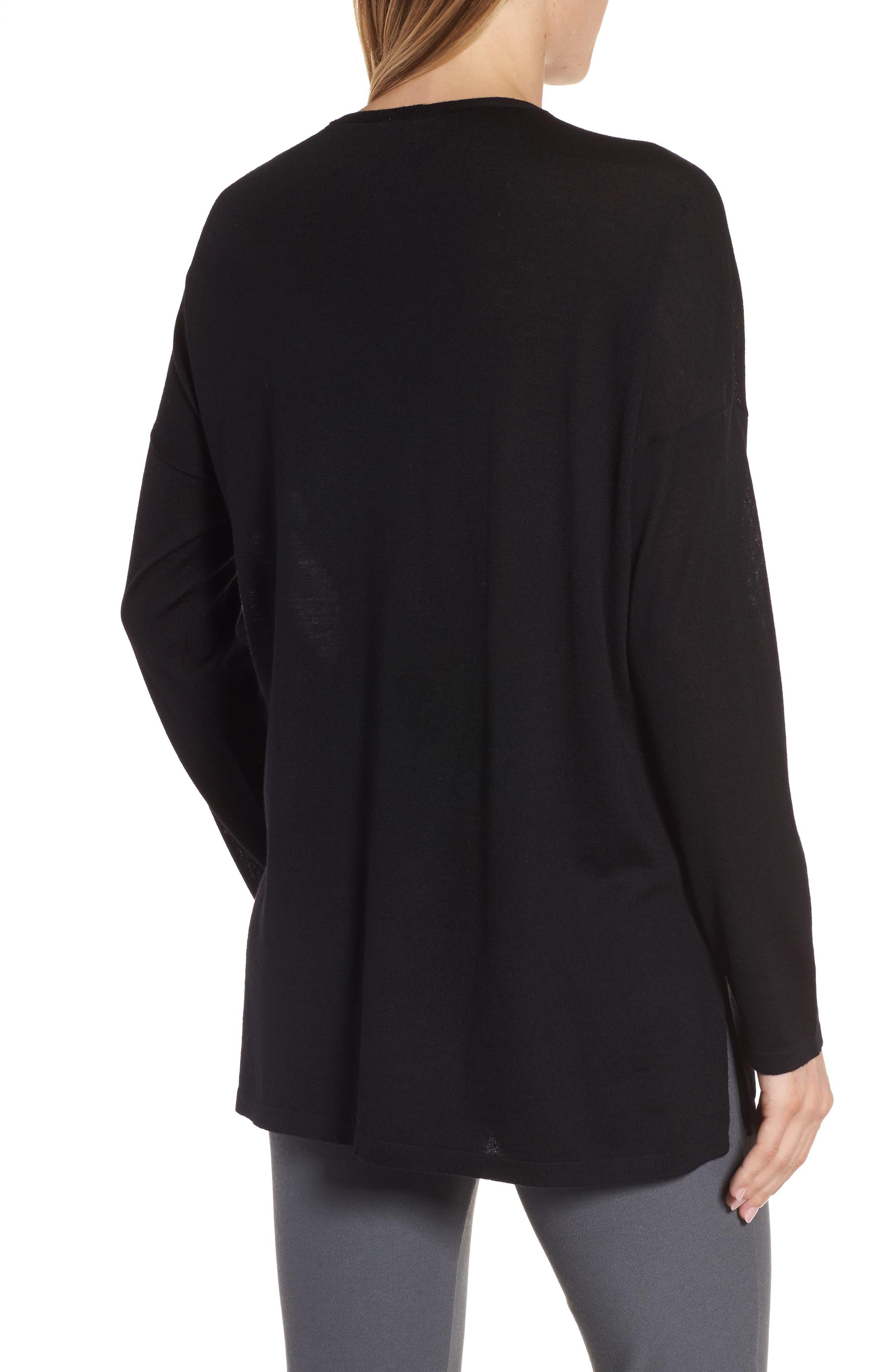 Merino Wool Tunic Sweater,                             Alternate thumbnail 2, color,                             001