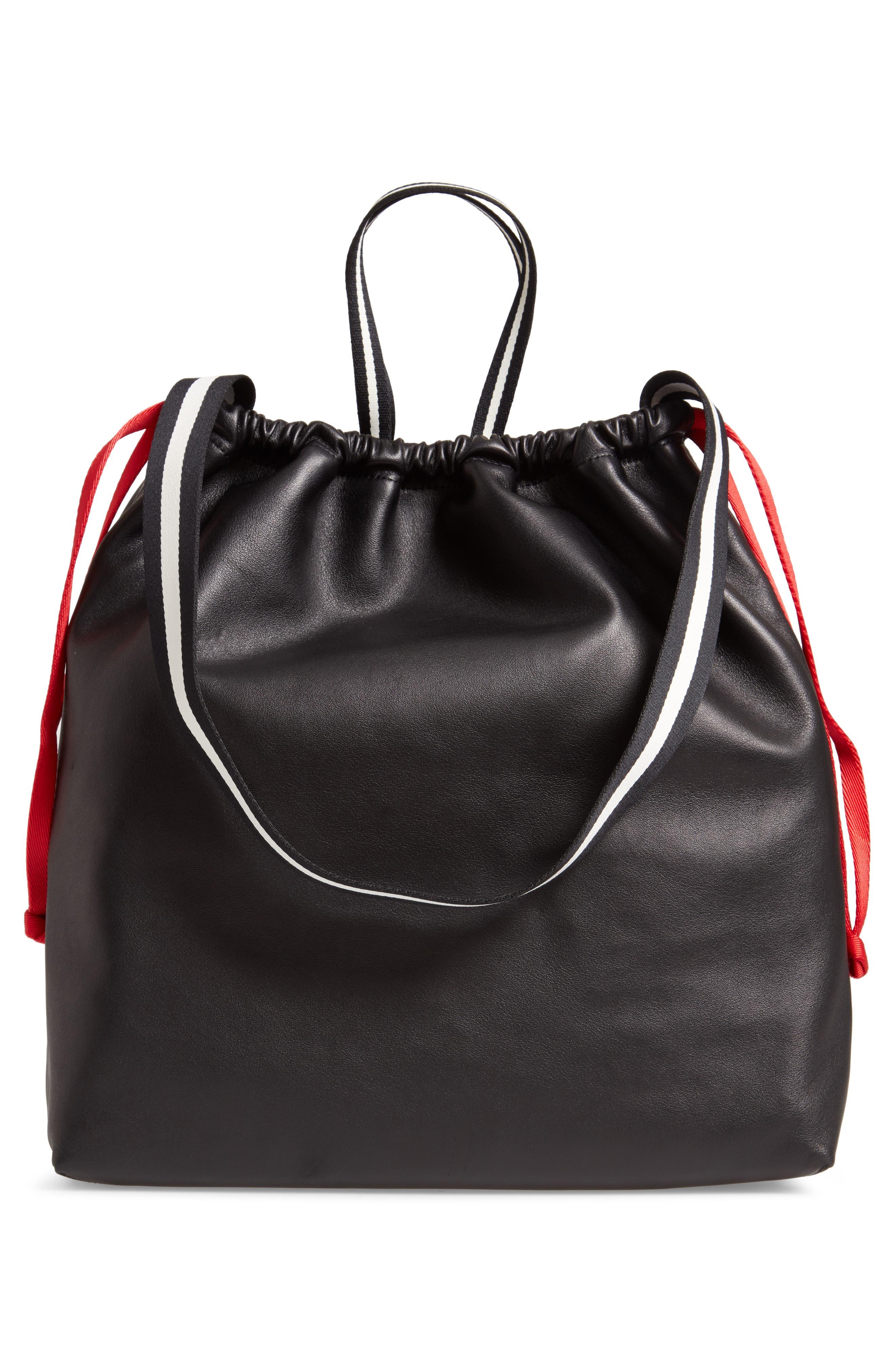 Wefty Drawstring Bucket Bag,                             Alternate thumbnail 3, color,                             BLACK