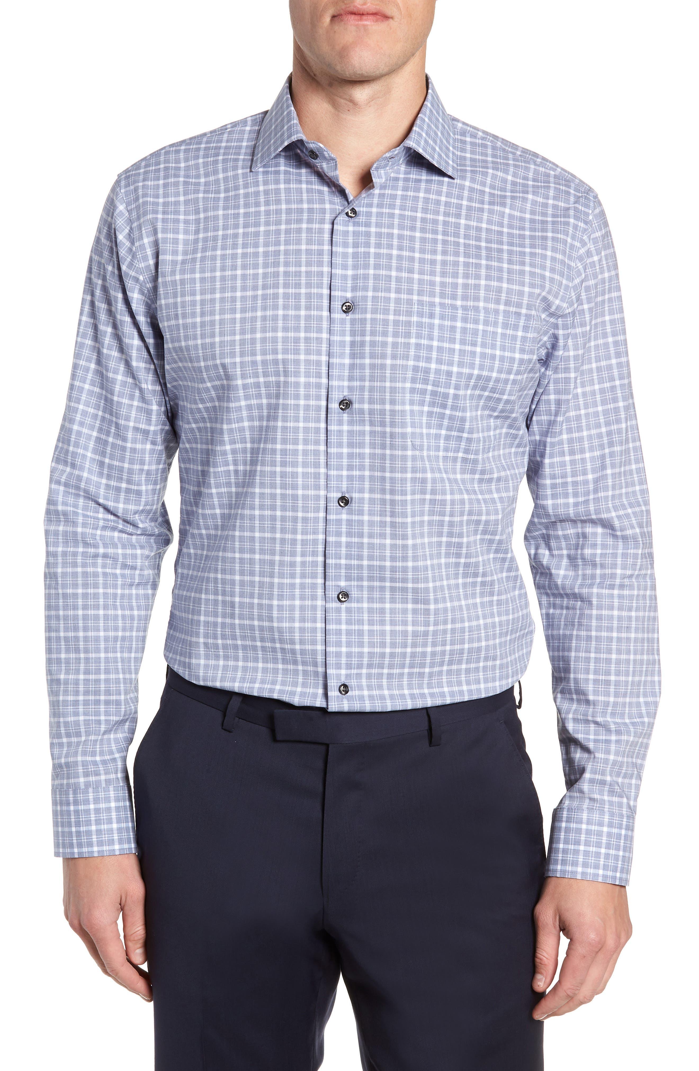 Trim Fit Non-Iron Plaid Dress Shirt,                         Main,                         color, 420