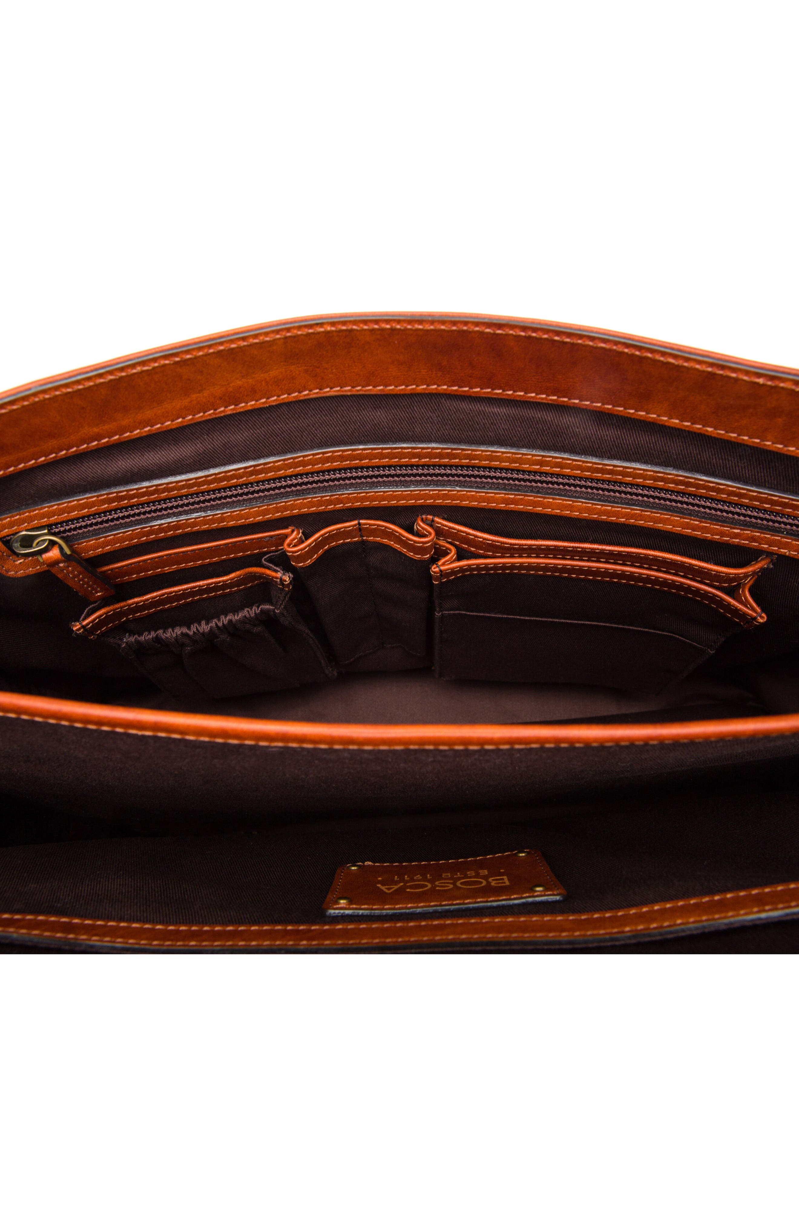 Dolce Leather Briefcase,                             Alternate thumbnail 3, color,                             AMBER