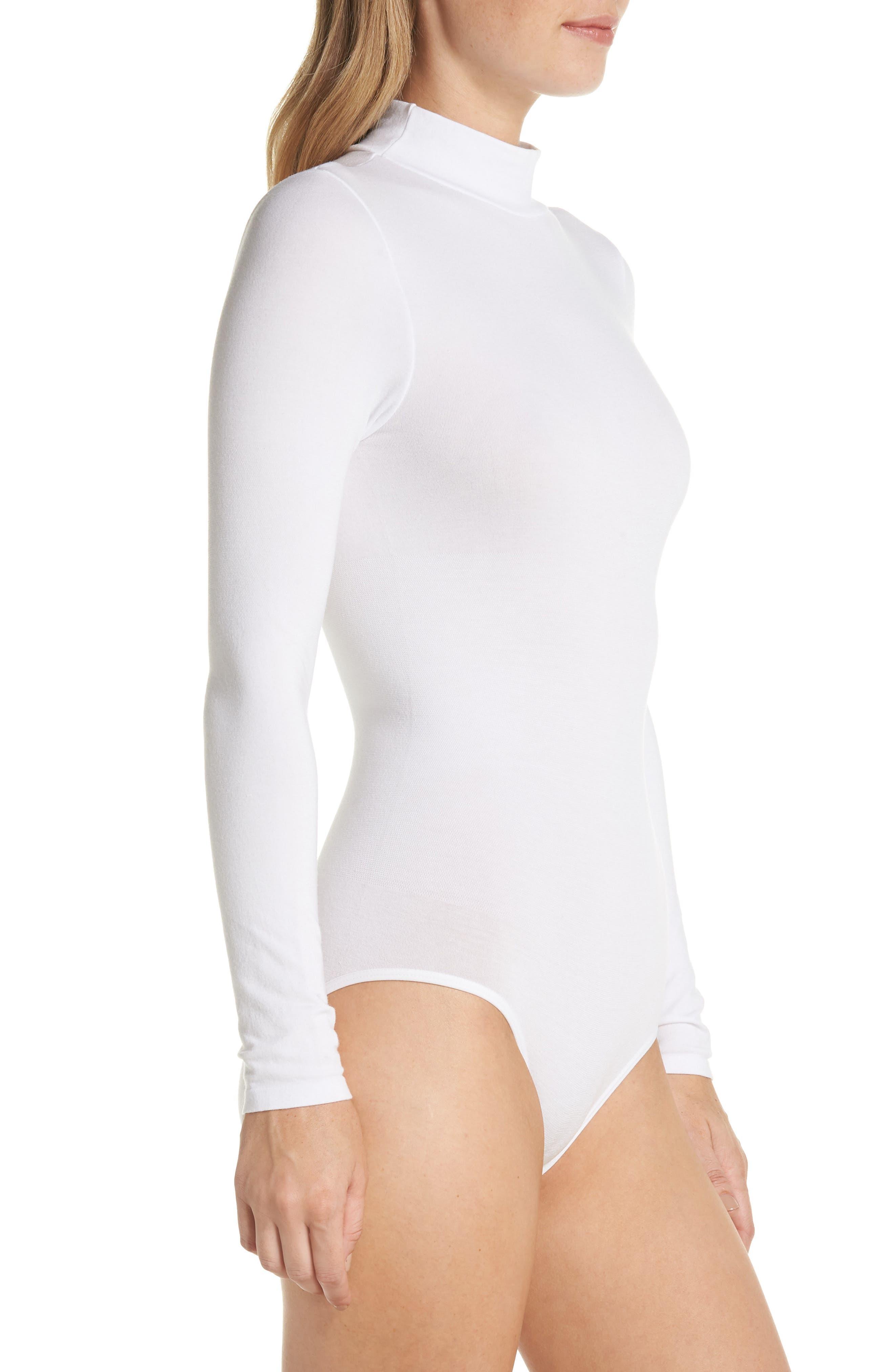 'Madelyn' Seamless Bodysuit,                             Alternate thumbnail 3, color,                             WHITE