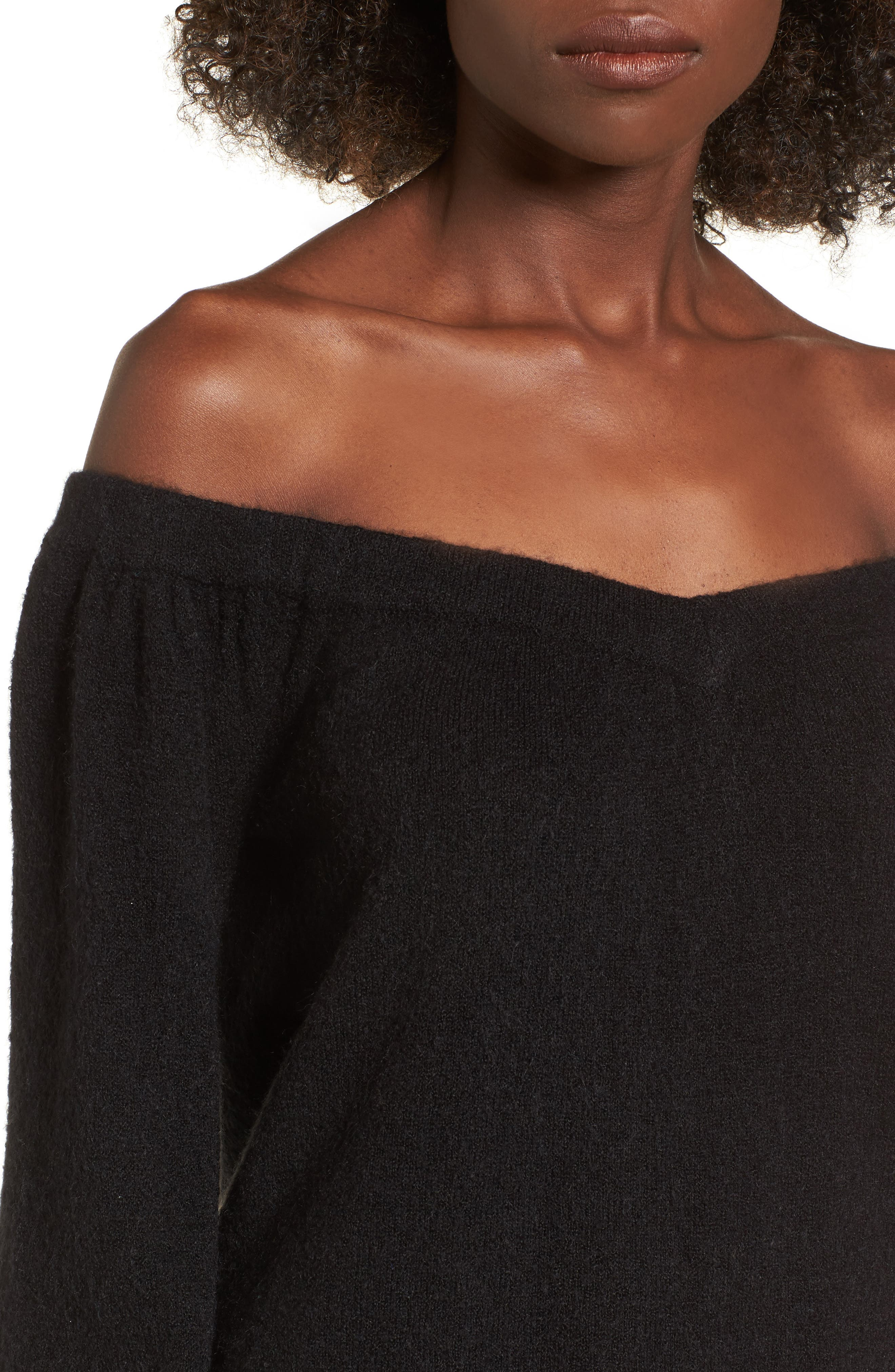 Off the Shoulder Sweater,                             Alternate thumbnail 4, color,                             001