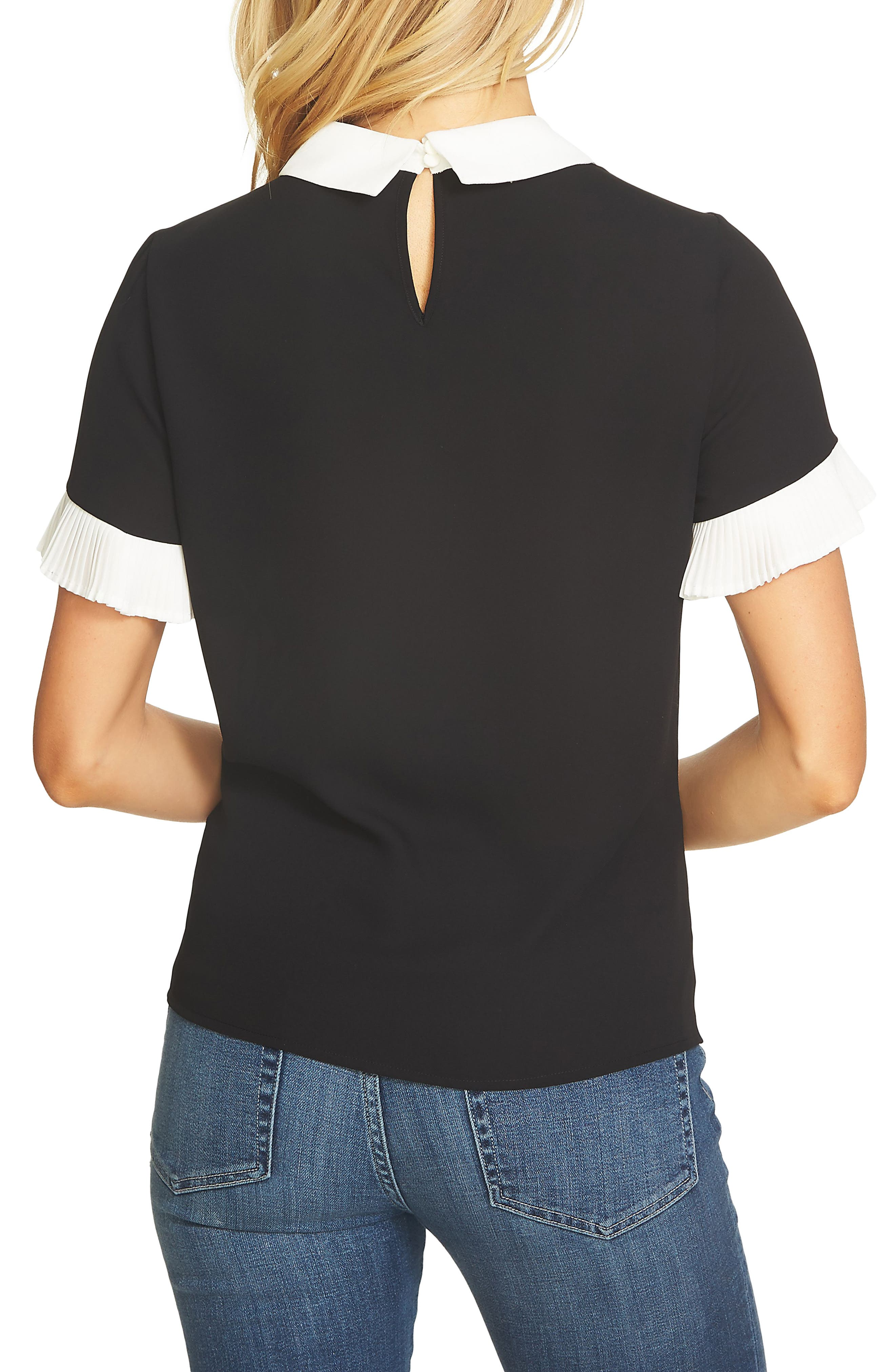 Pleat Sleeve Collared Crepe Blouse,                             Alternate thumbnail 2, color,                             RICH BLACK