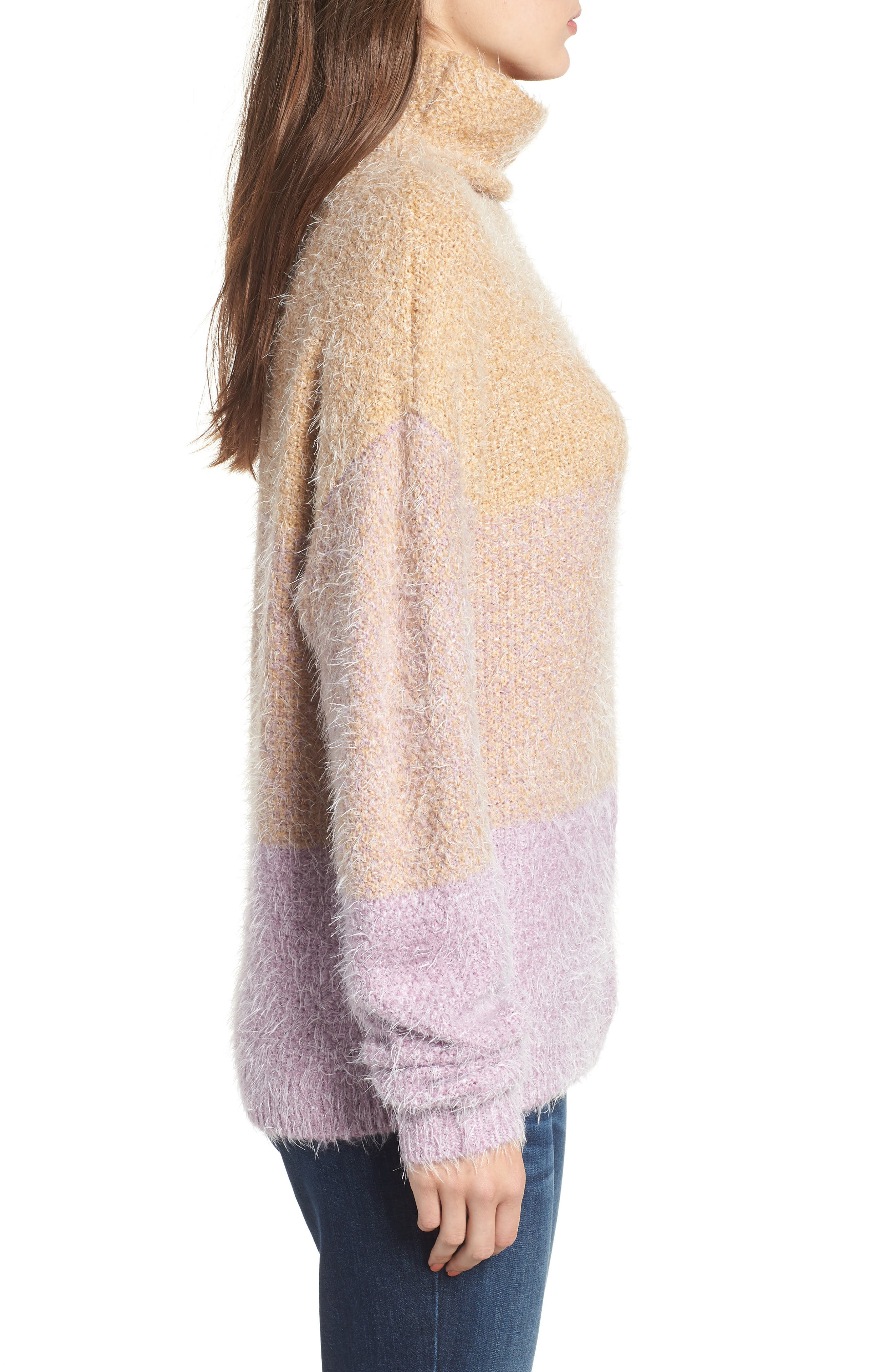 Ombré Eyelash Sweater,                             Alternate thumbnail 3, color,                             PINK AMOUR