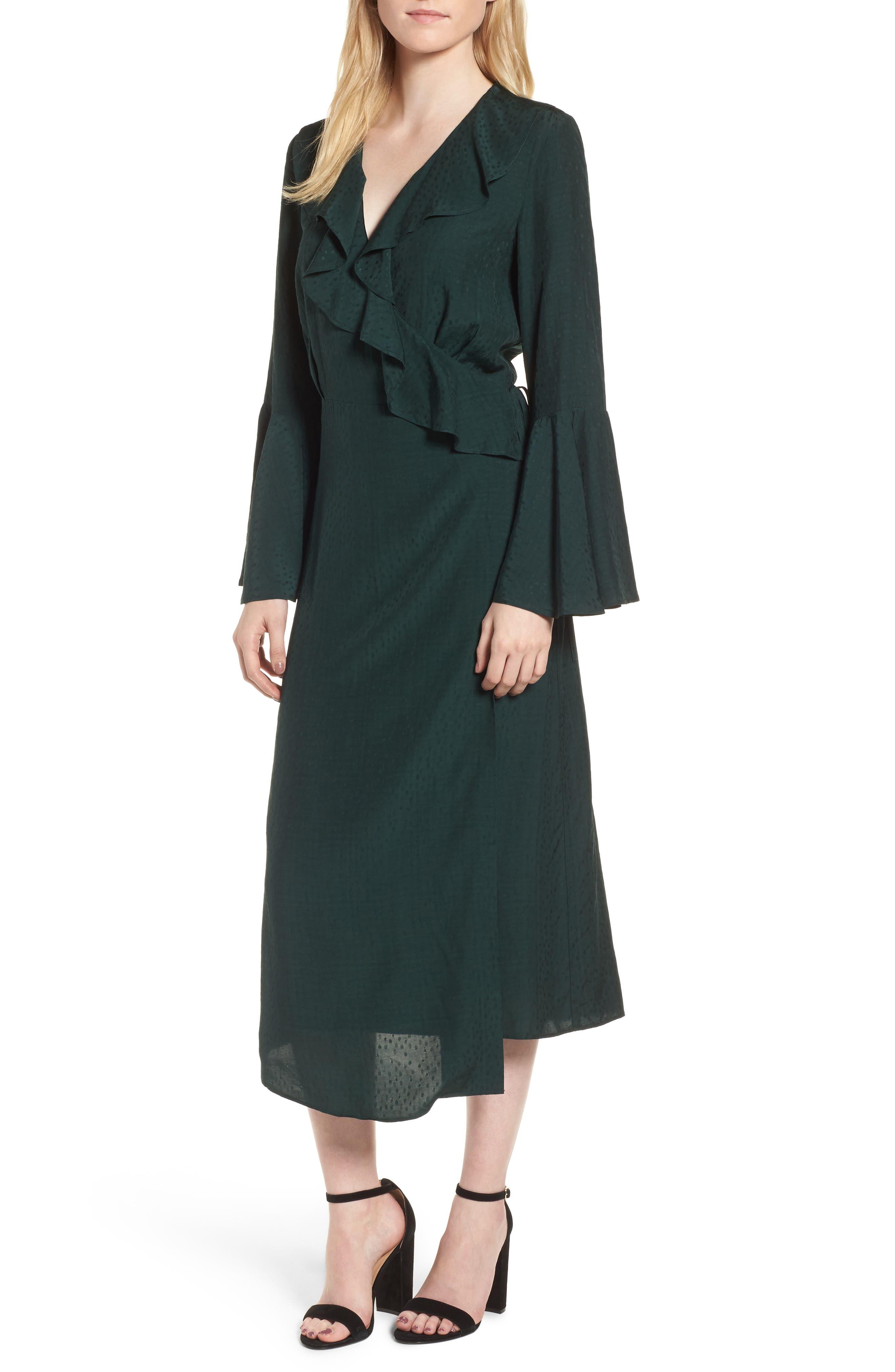 Midi Wrap Dress,                             Main thumbnail 1, color,                             301