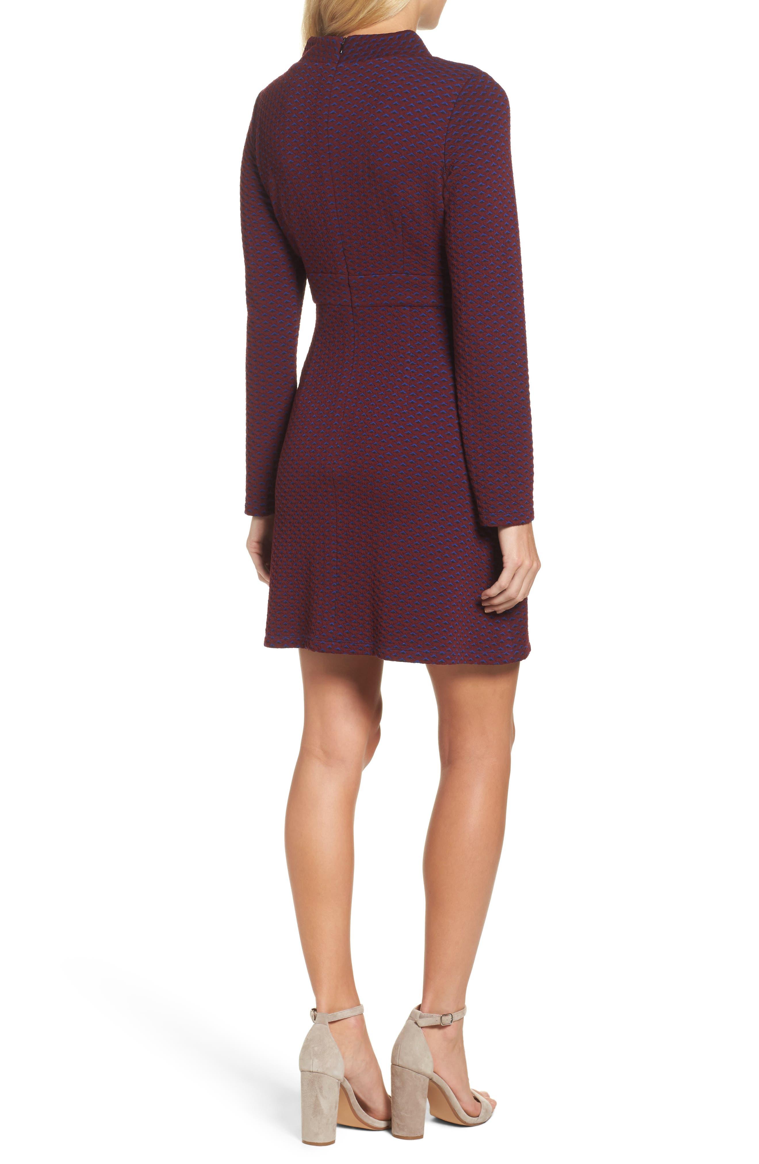 Jacquard Fit & Flare Dress,                             Alternate thumbnail 2, color,                             401