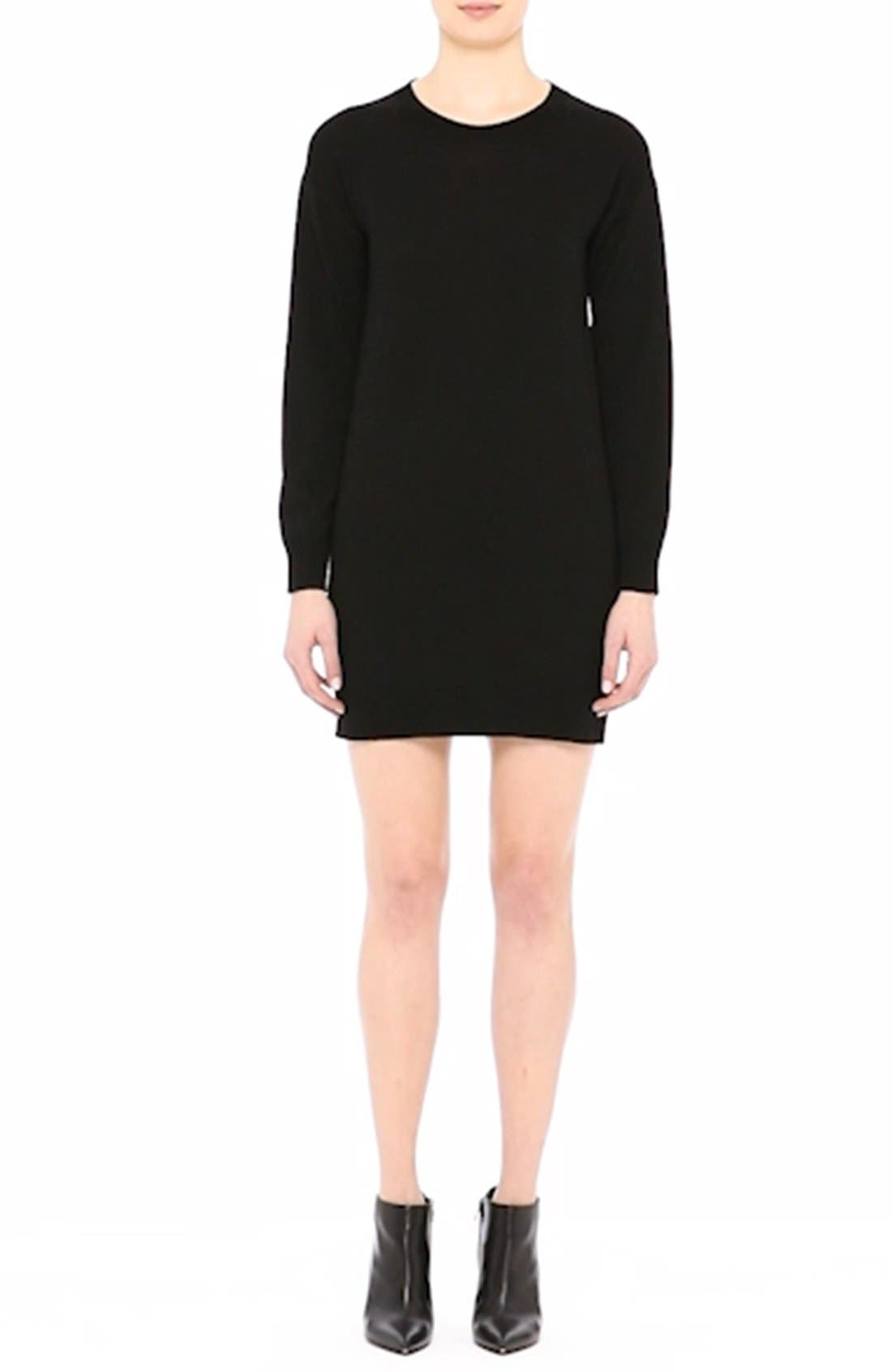 Alewater Elbow Patch Merino Wool Dress,                             Alternate thumbnail 9, color,                             BLACK