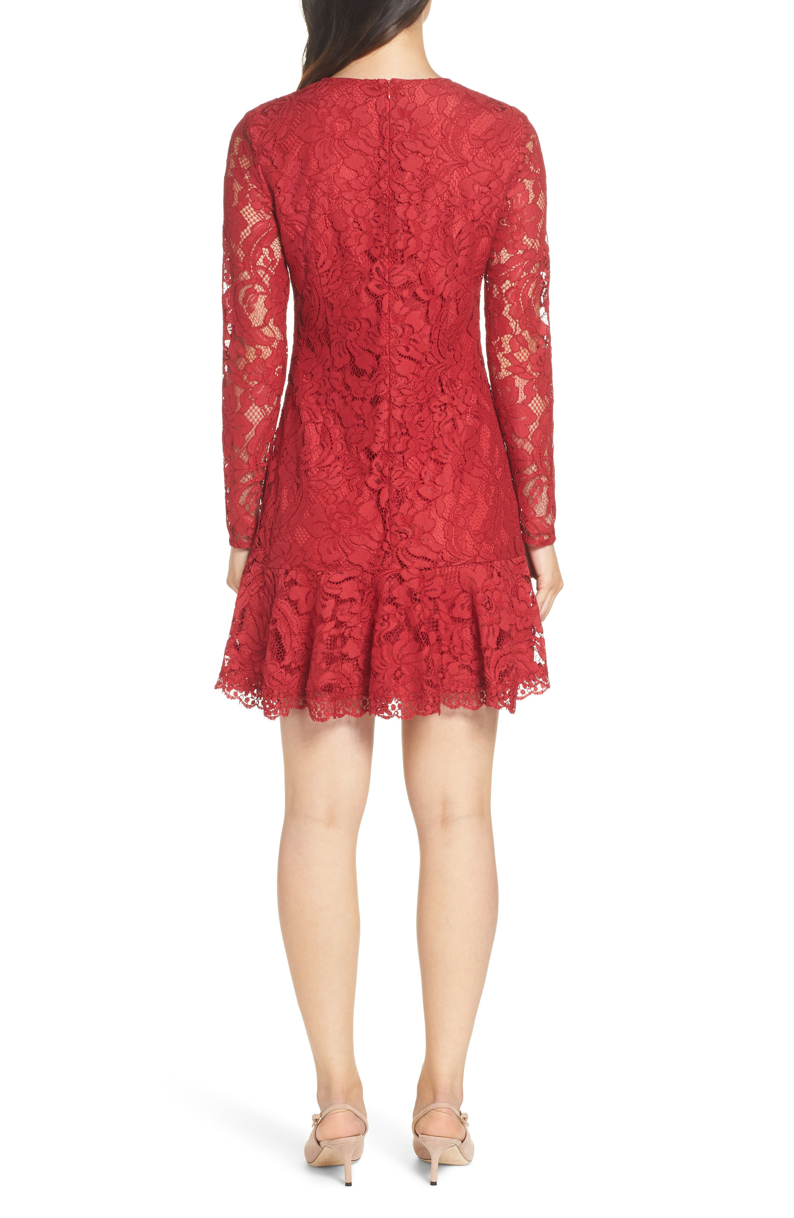 Lace Fit & Flare Dress,                             Alternate thumbnail 2, color,                             LIPSTICK RED
